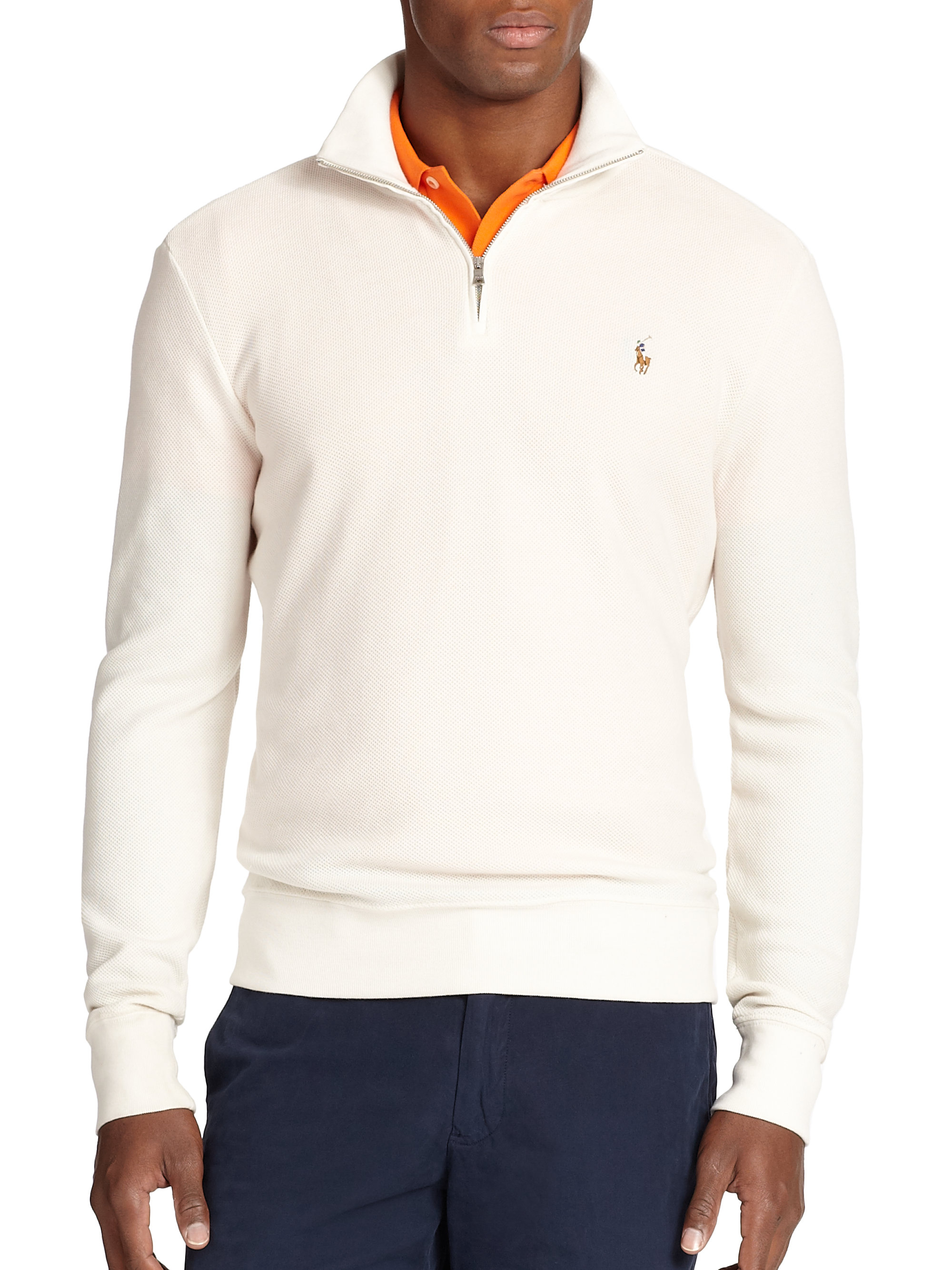 polo ralph lauren pima half zip pullover in white for men lyst. Black Bedroom Furniture Sets. Home Design Ideas