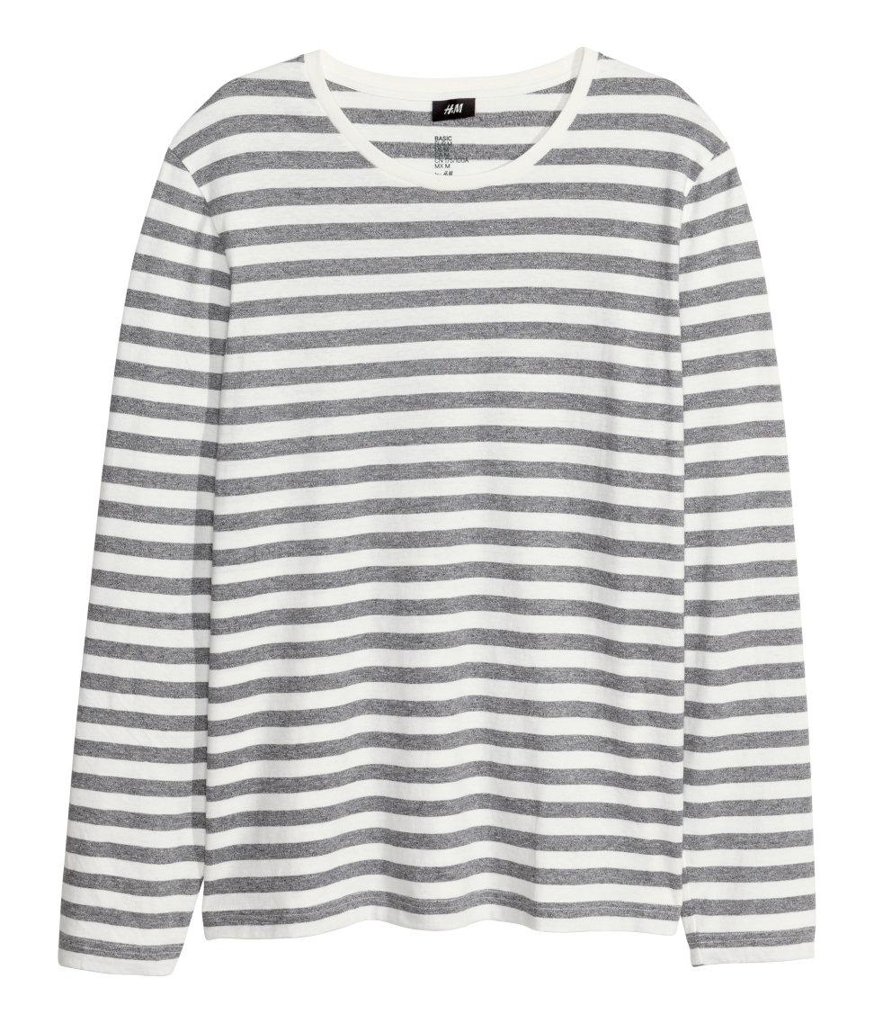 H m long sleeved t shirt in gray for men lyst for H m mens henley t shirt long sleeve