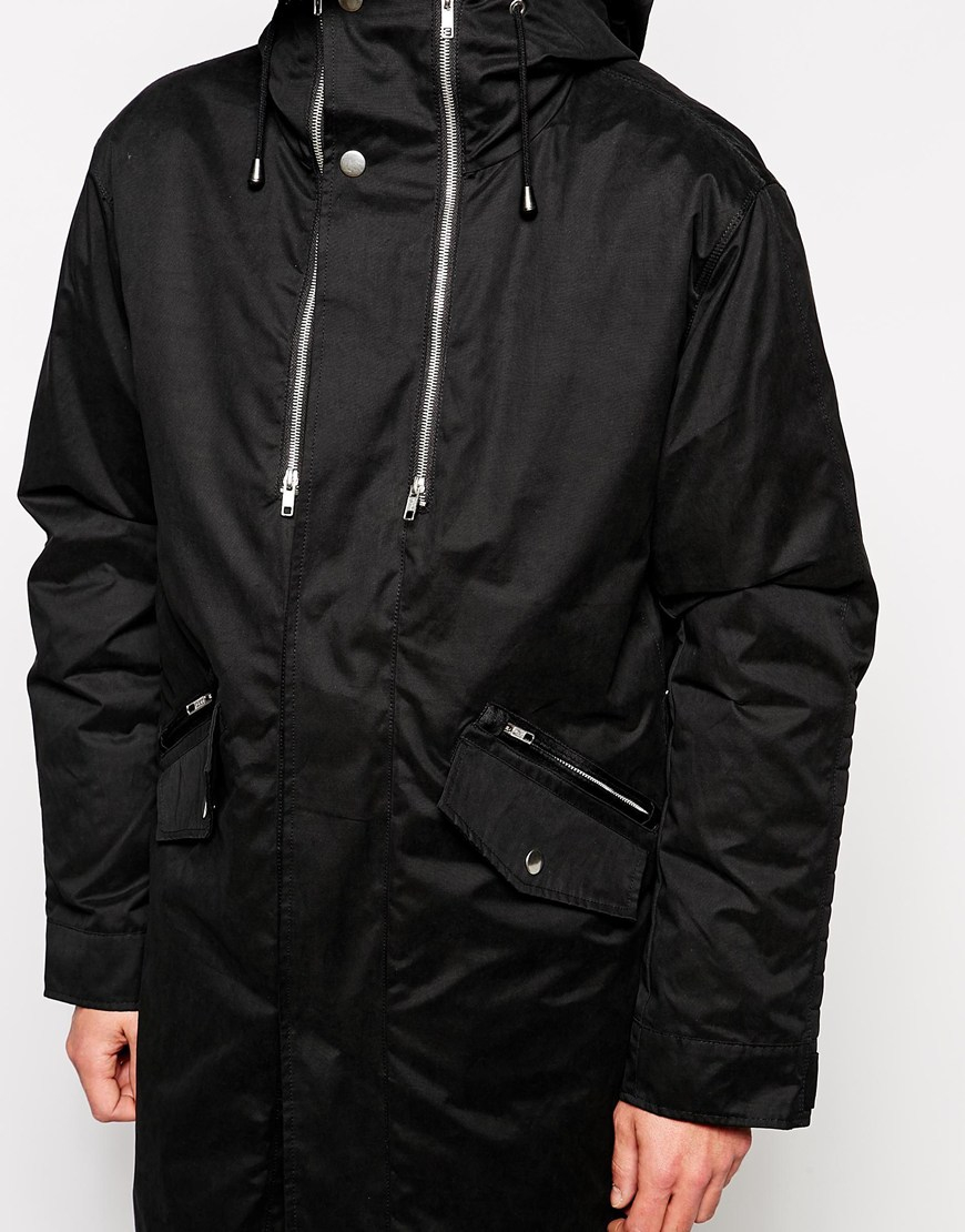 Asos 2 In 1 Longline Parka Jacket in Black for Men | Lyst