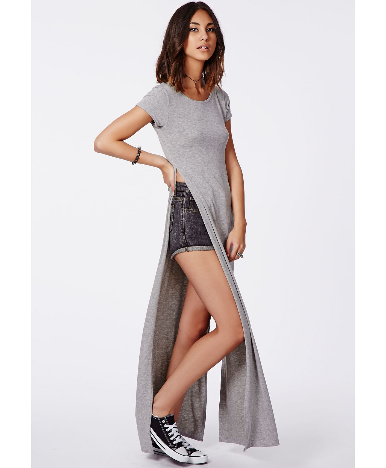 Lyst Missguided Krista T Shirt Style Side Split Maxi