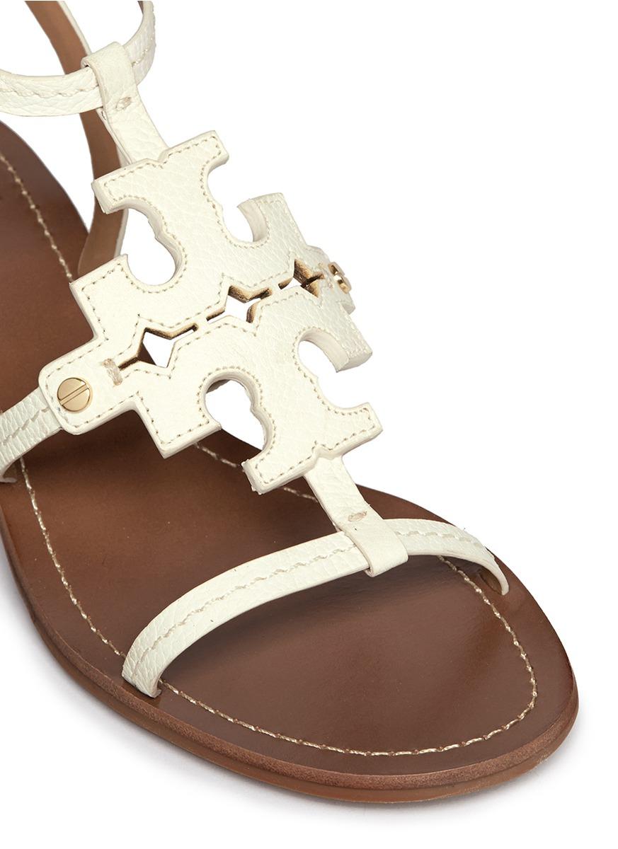 Lyst Tory Burch Chandler Cutout Logo Leather Sandals