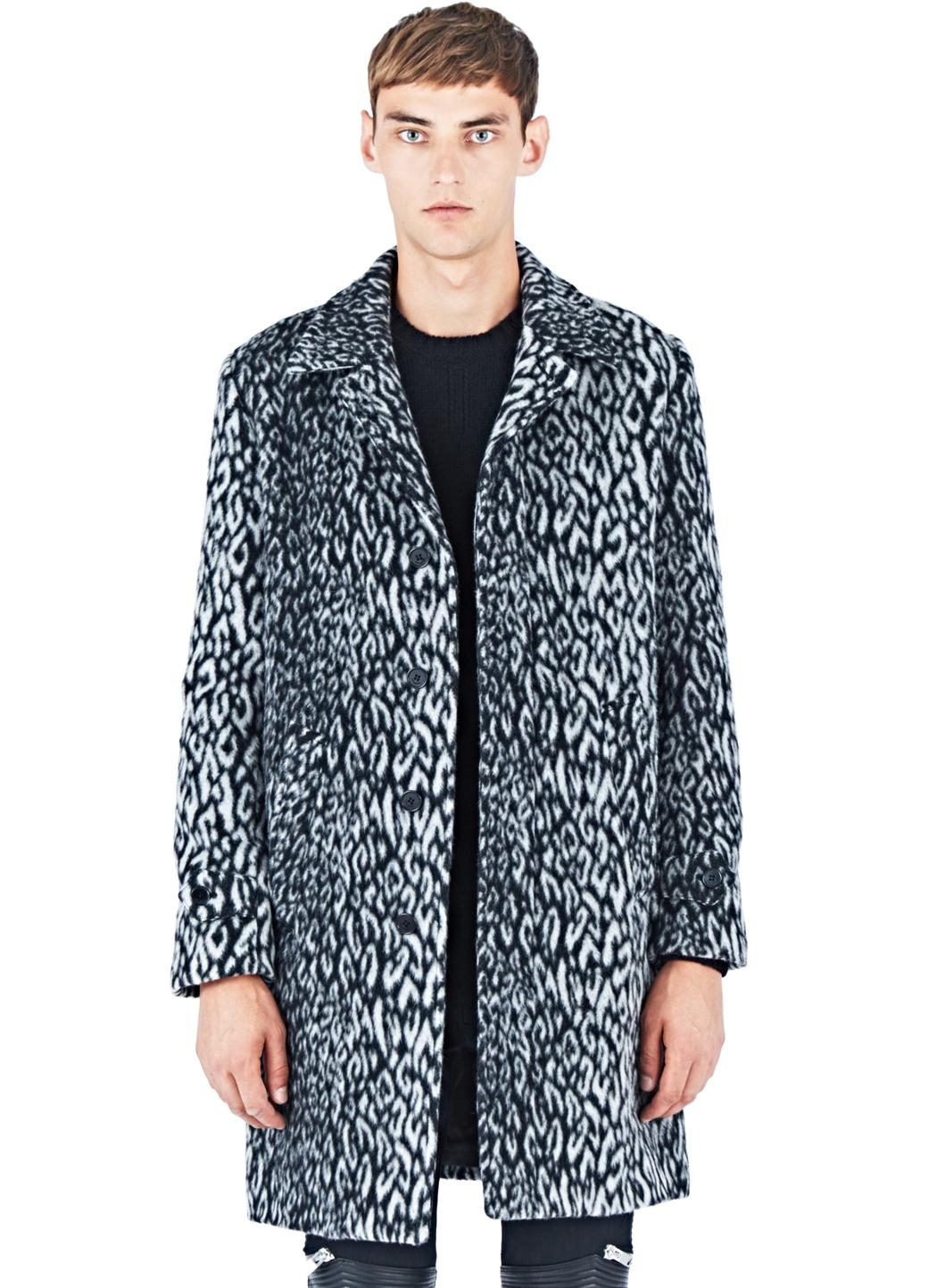 Lyst Saint Laurent Leopard Print Faux Fur Coat In Blue