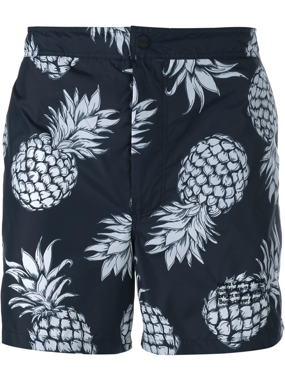 21b158a18fb2c Valentino Pineapple-print Swim Shorts in Black for Men - Lyst