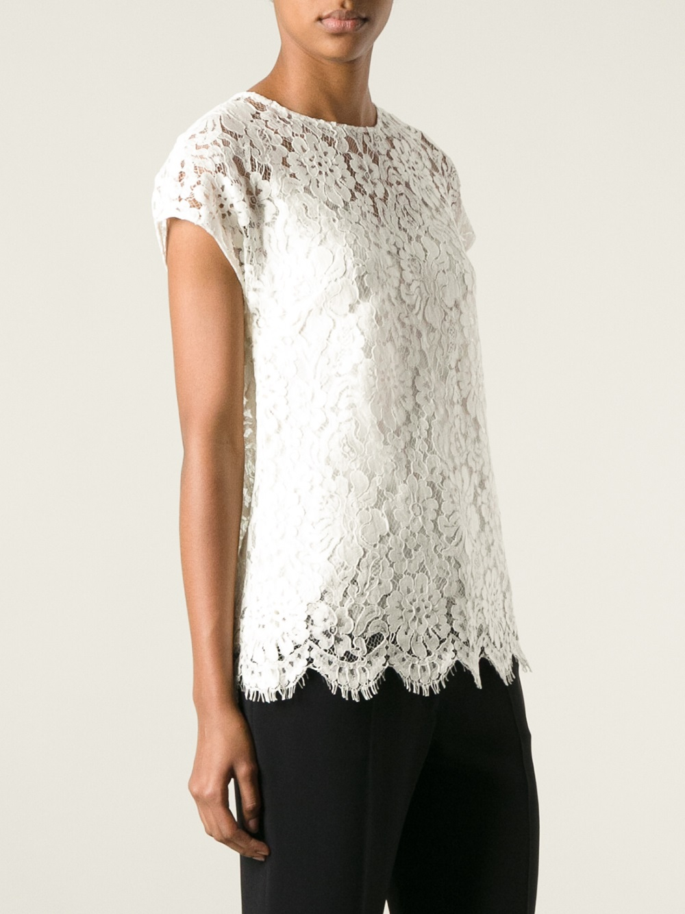 Lyst dolce gabbana floral lace tshirt in white for Dolce gabbana t shirt women
