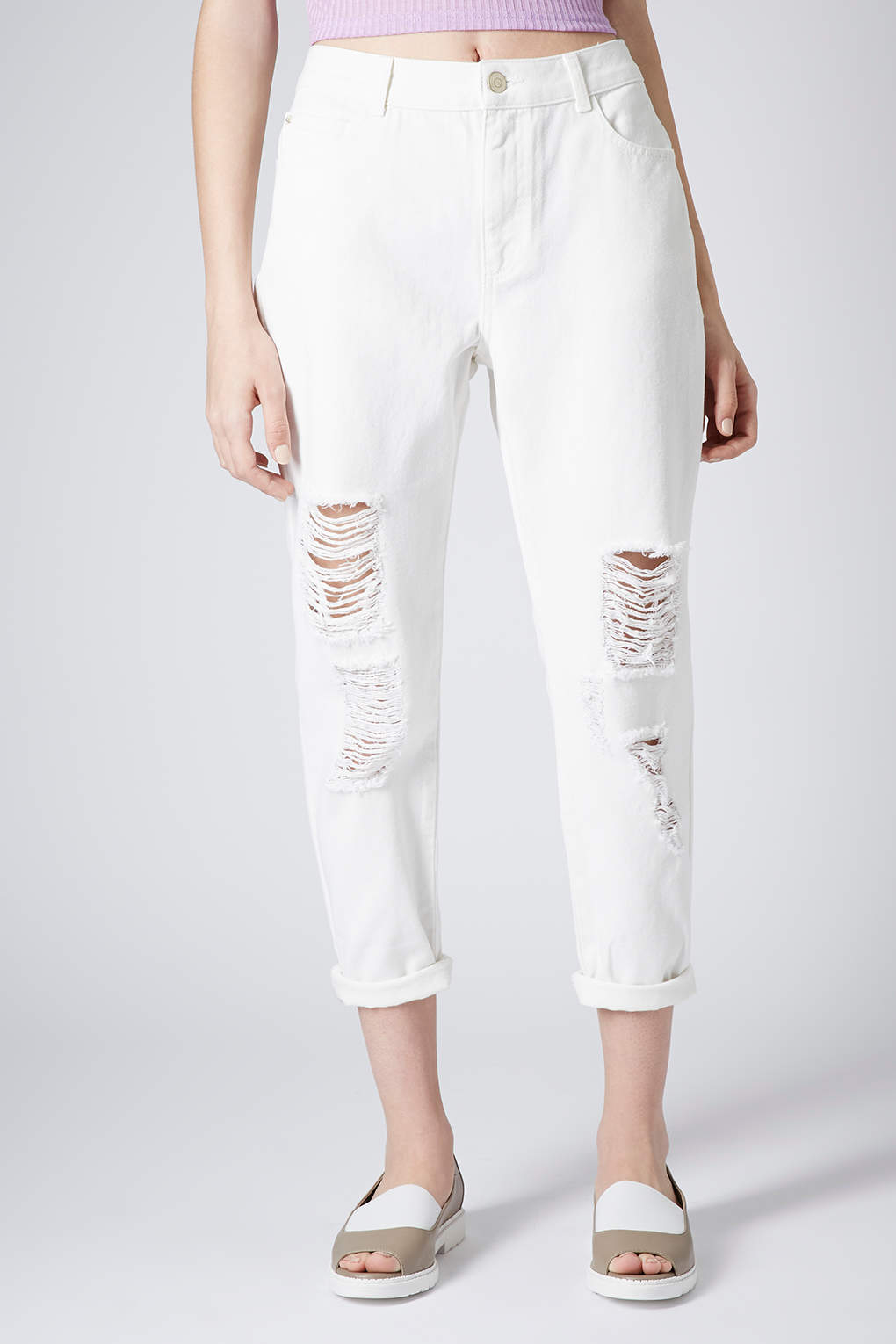 Topshop Petite Moto White Ripped Mom Jeans in White | Lyst