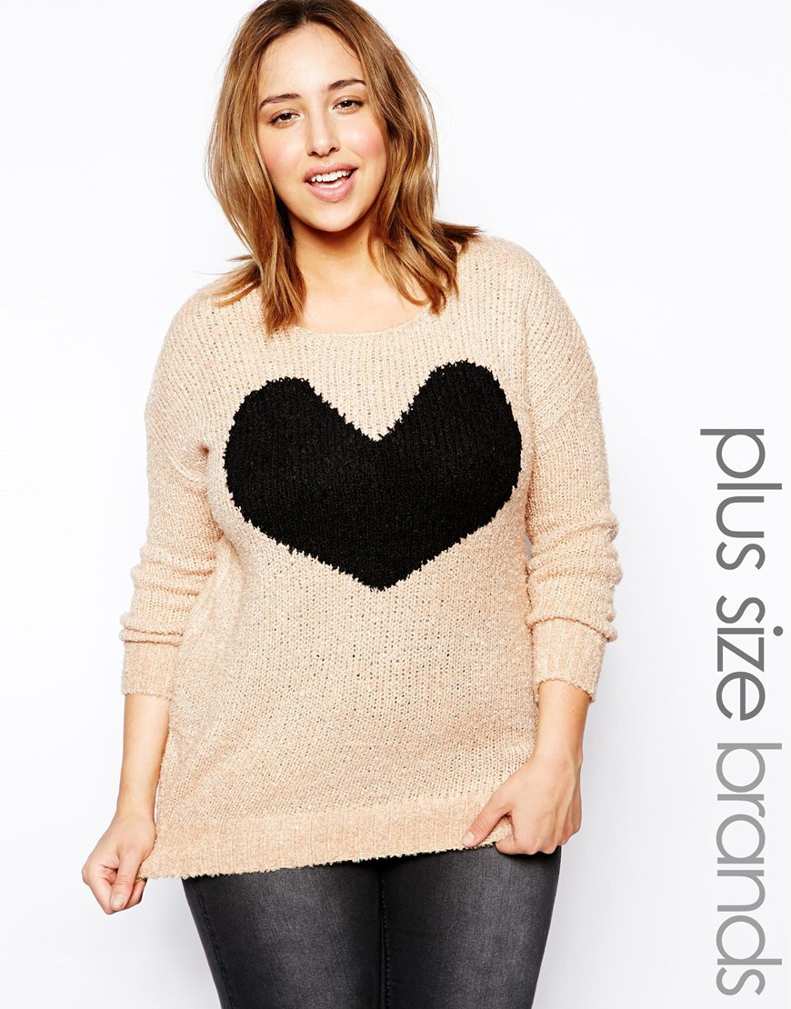 Ax paris Plus Size Heart Knit Sweater in Pink | Lyst