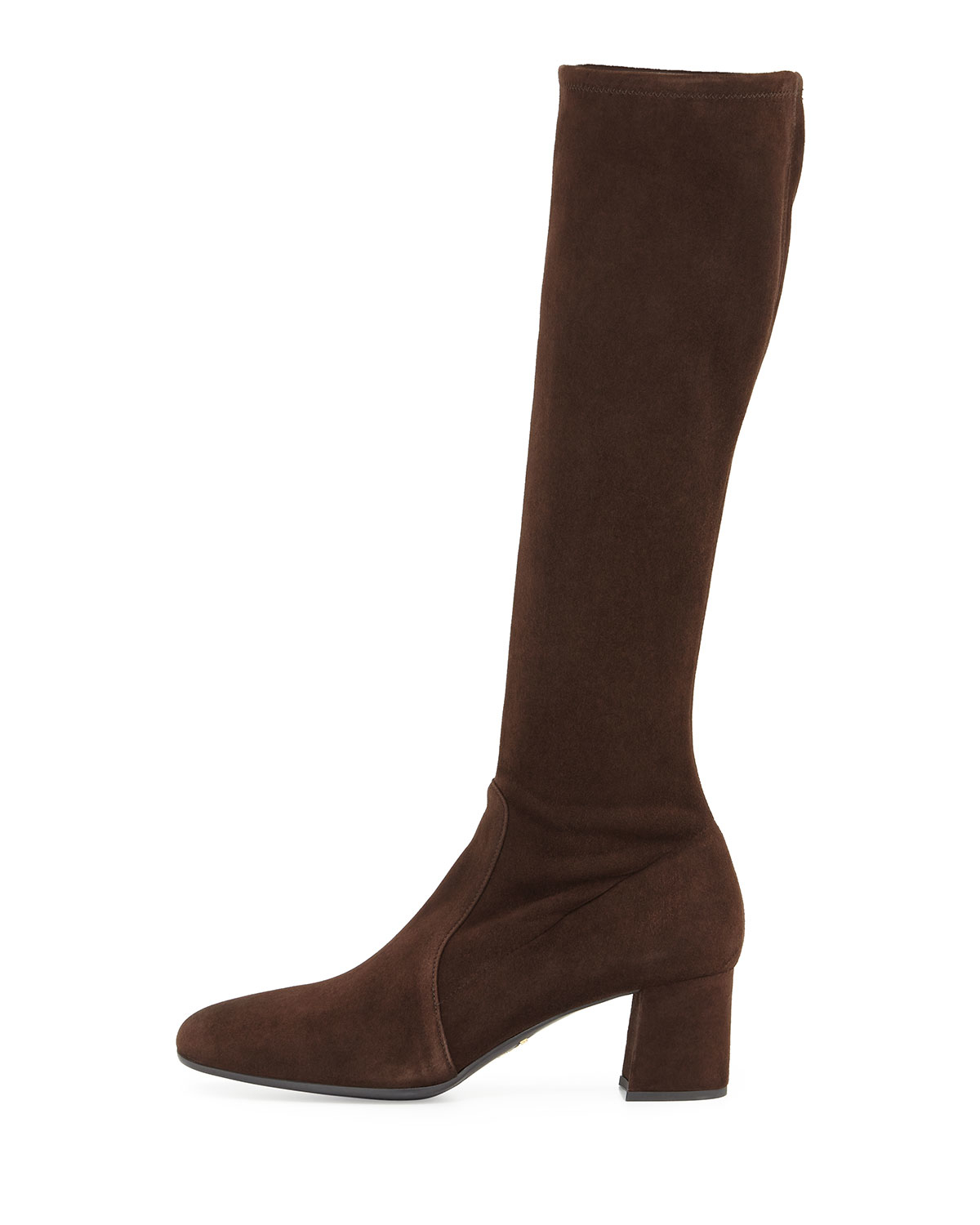 prada low heel stretch suede knee boot in brown save 29