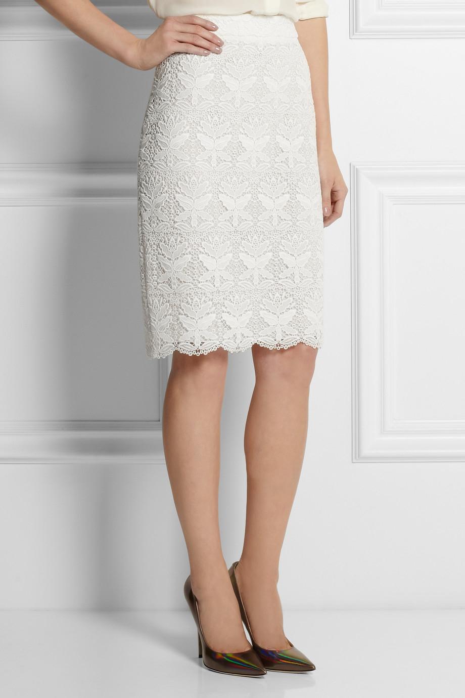 emilio pucci macram 233 lace pencil skirt in white lyst