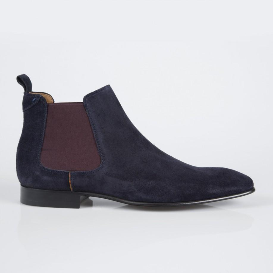 paul smith navy calf suede falconer chelsea boots in