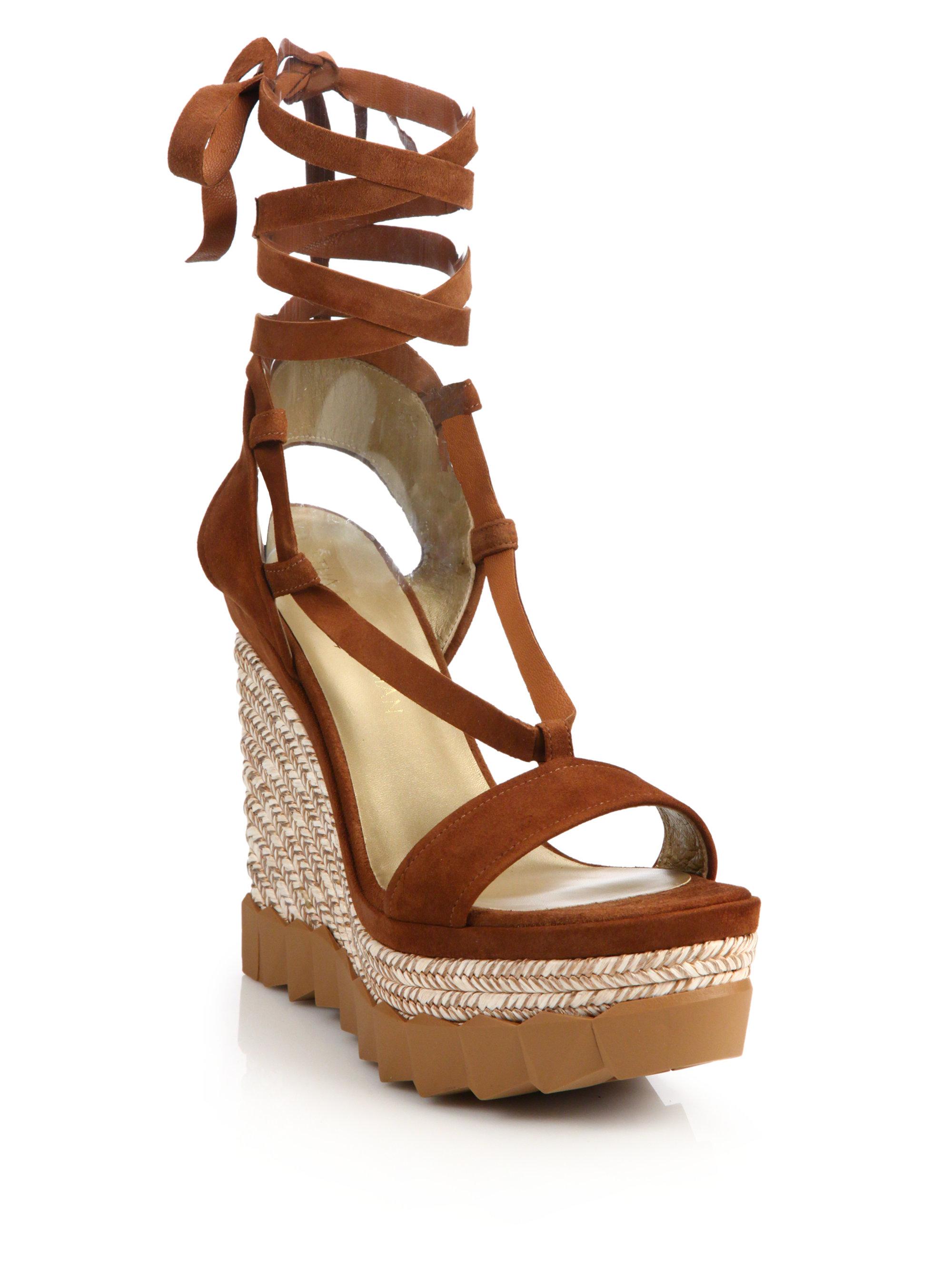 dfe63fa185d Lyst - Stuart Weitzman Cruisin Suede Espadrille Wedge Sandals in Brown