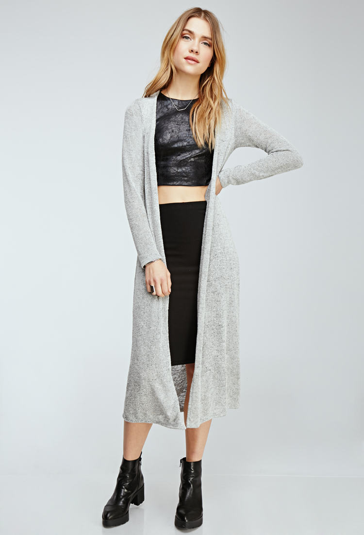 Forever 21 Marled Knit Longline Cardigan You've Been Added To The ...