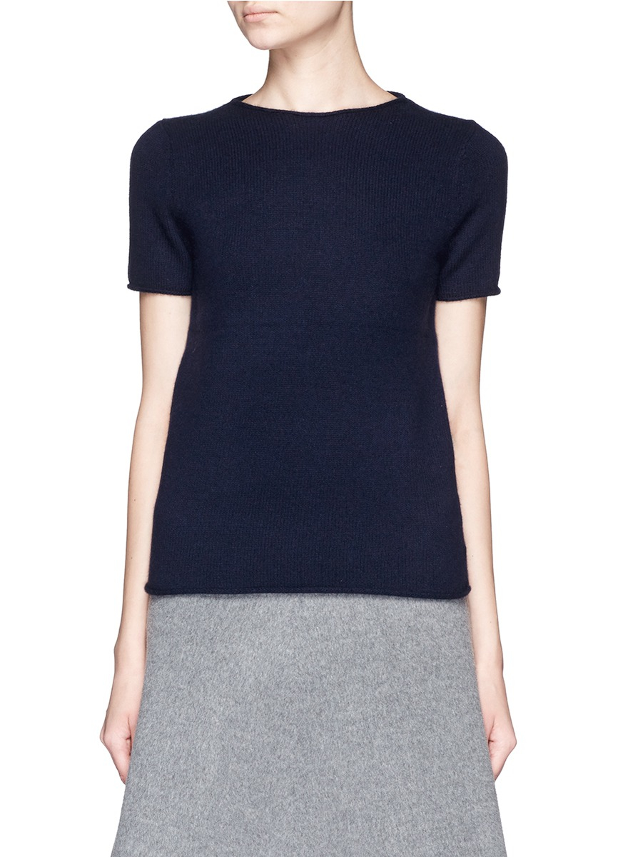 Theory 'tolleree' Short Sleeve Cashmere Sweater in Blue | Lyst