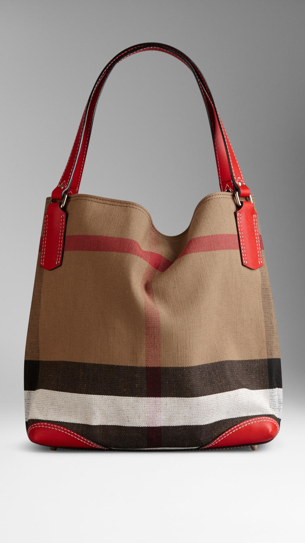 Burberry Medium Canvas Check Tote Bag In Red cadmium