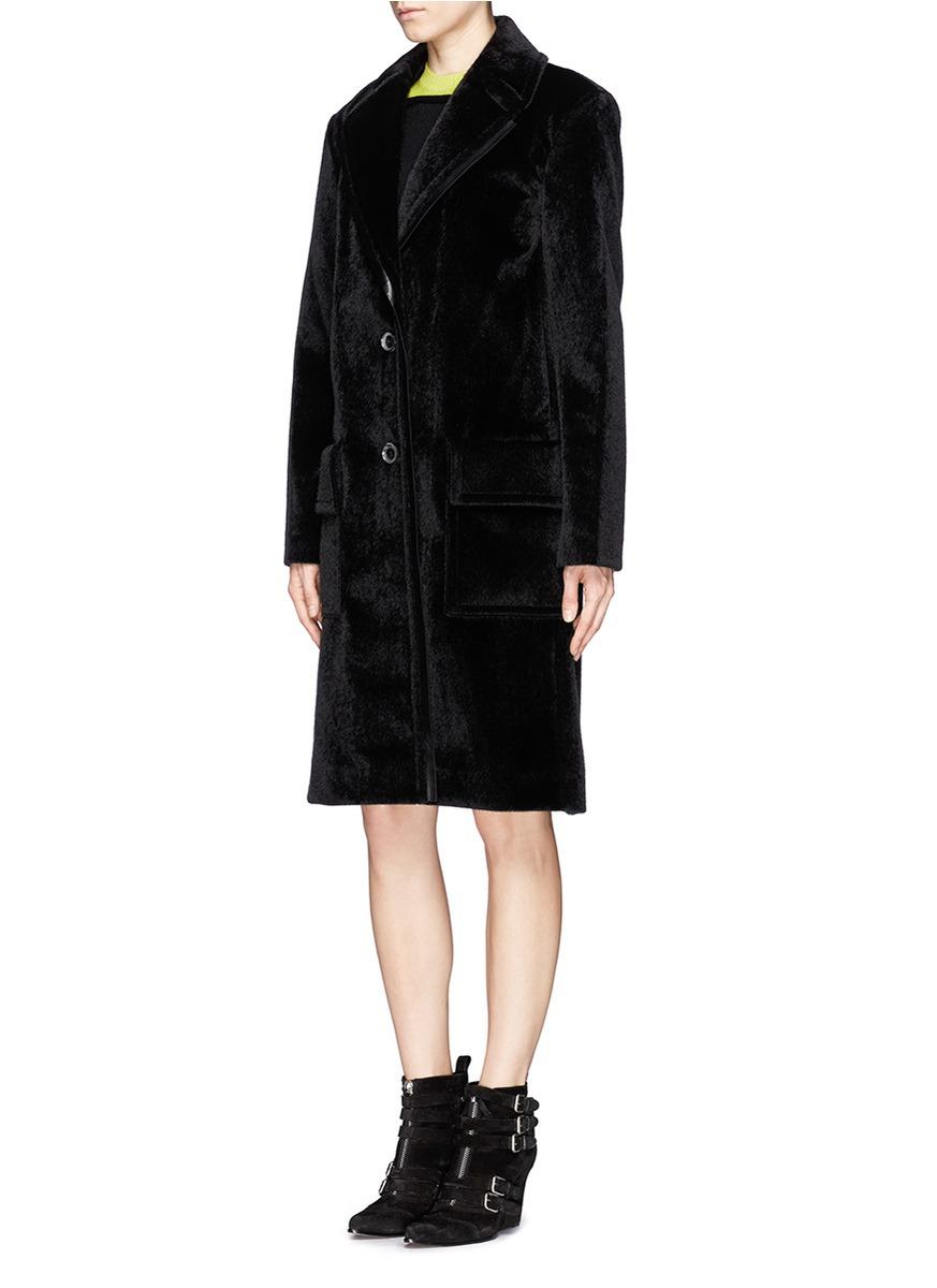 black faux fur collar twill coat