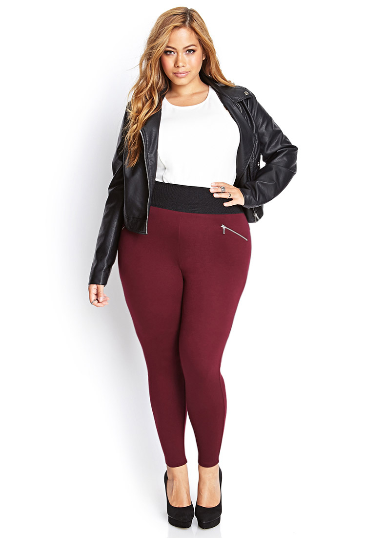 Forever 21 Plus Size Zippered Knit Leggings in Purple | Lyst