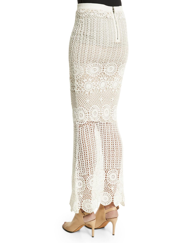 griselda crochet maxi skirt in white lyst