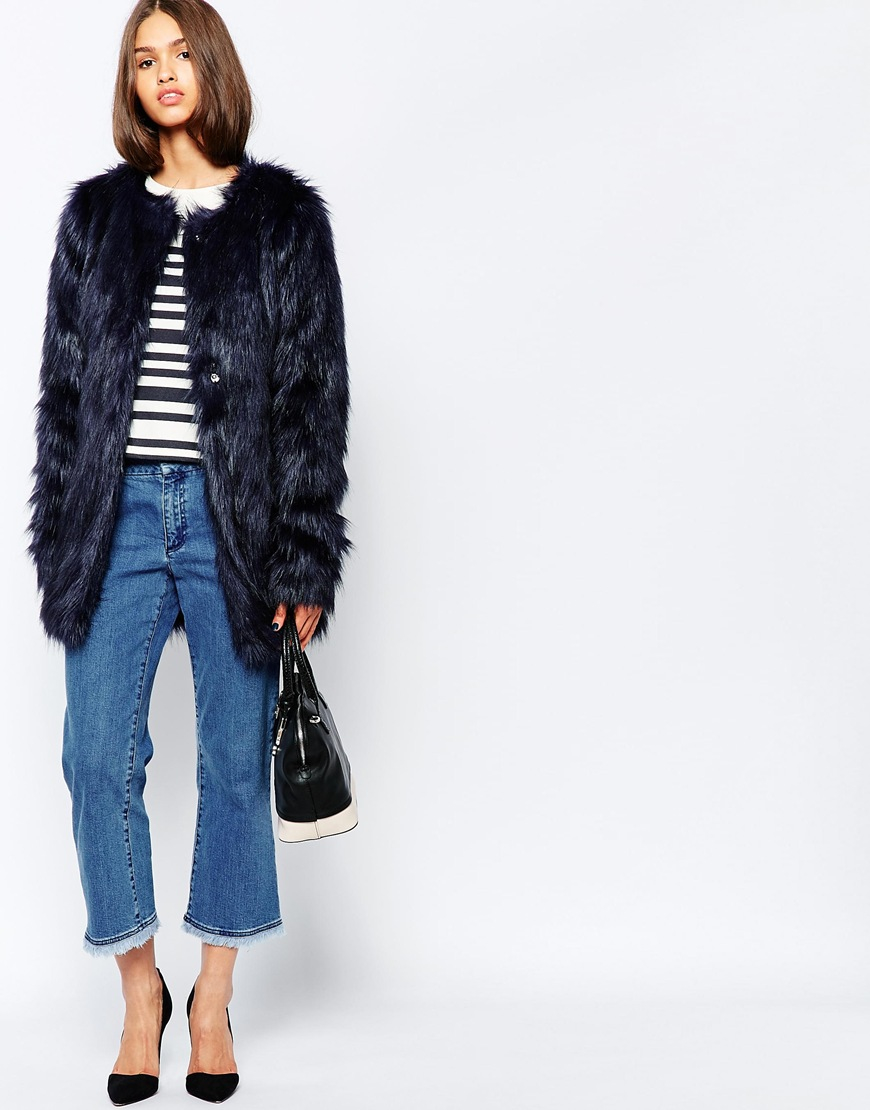 4b5dc846d Barneys Originals Faux Fur Longline Coat in Blue - Lyst