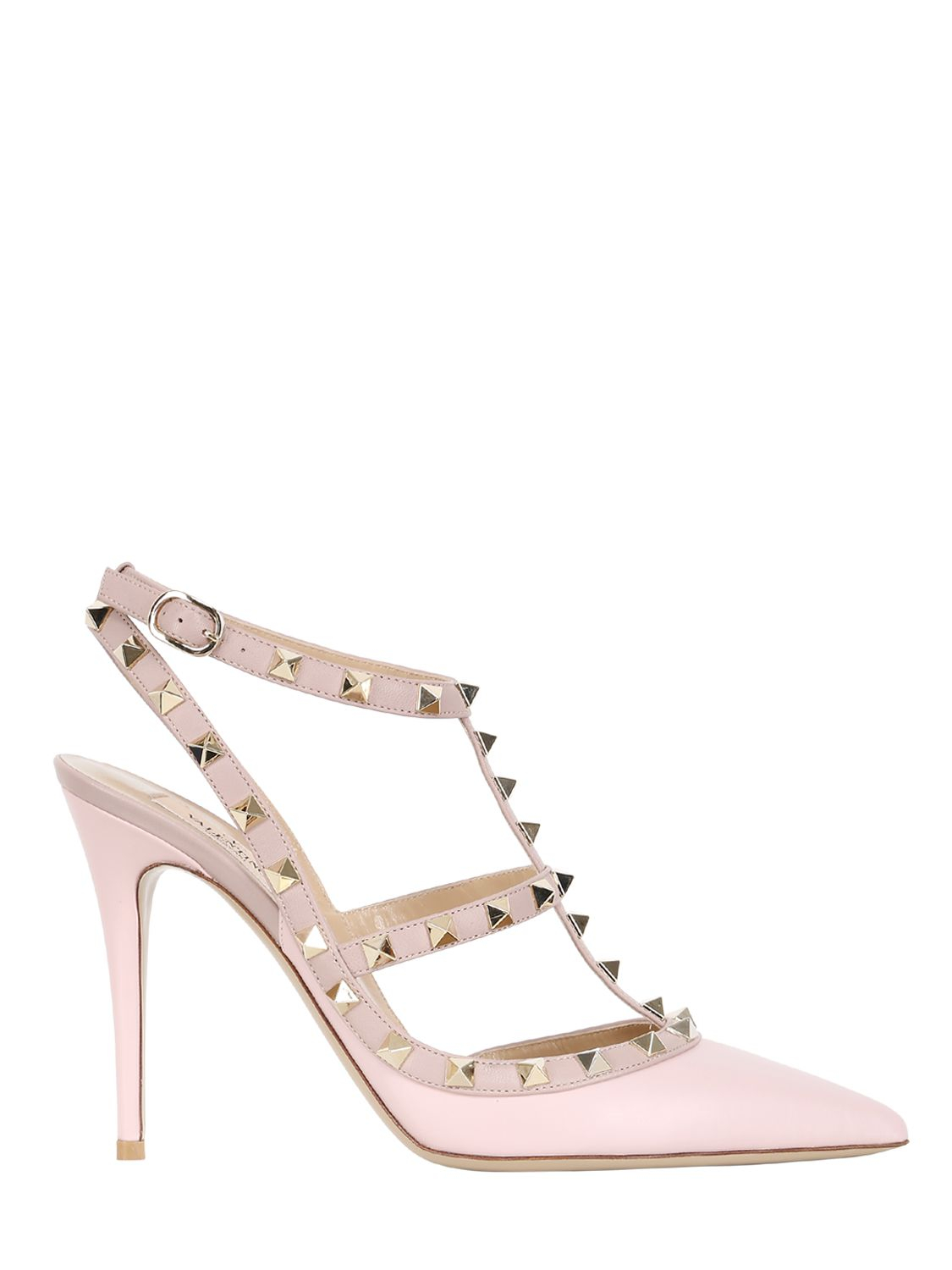 ec6ae7a9a5c Valentino 100mm Rockstud Leather Pumps in Pink - Lyst