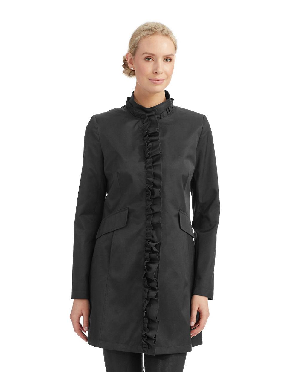 Dkny Ruffle Trench Coat in Black | Lyst