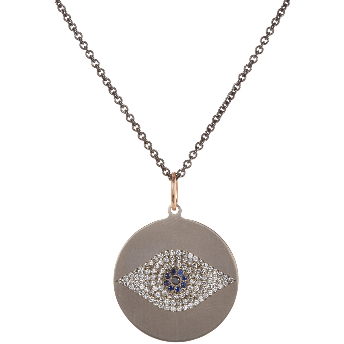 ileana makri multi gemstone titanium evil eye pendant