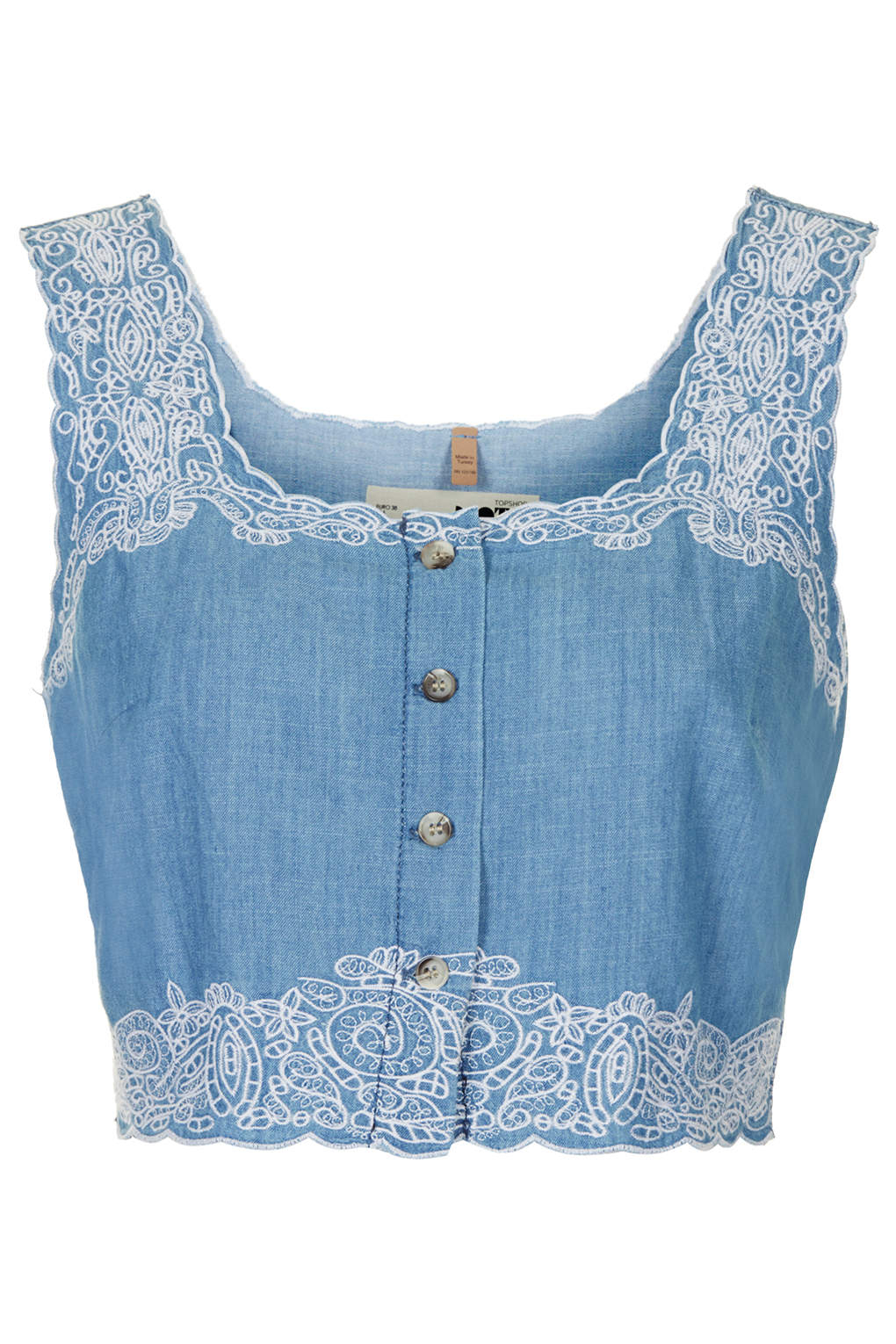 Topshop blue moto embroidered crop top bnwt uk us