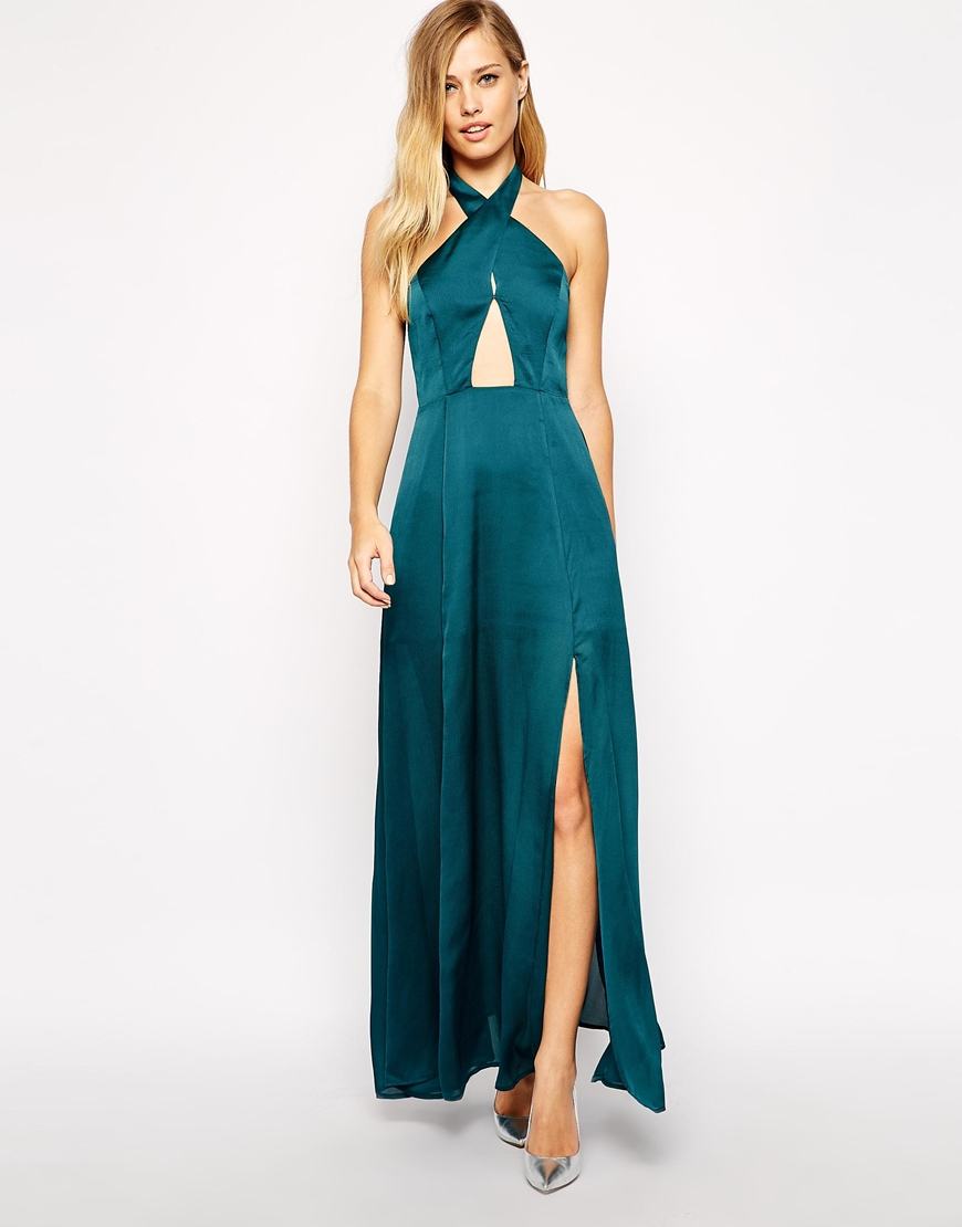 Stylestalker Queen Of The Night Maxi Dress With Wrap Neck Detail ...