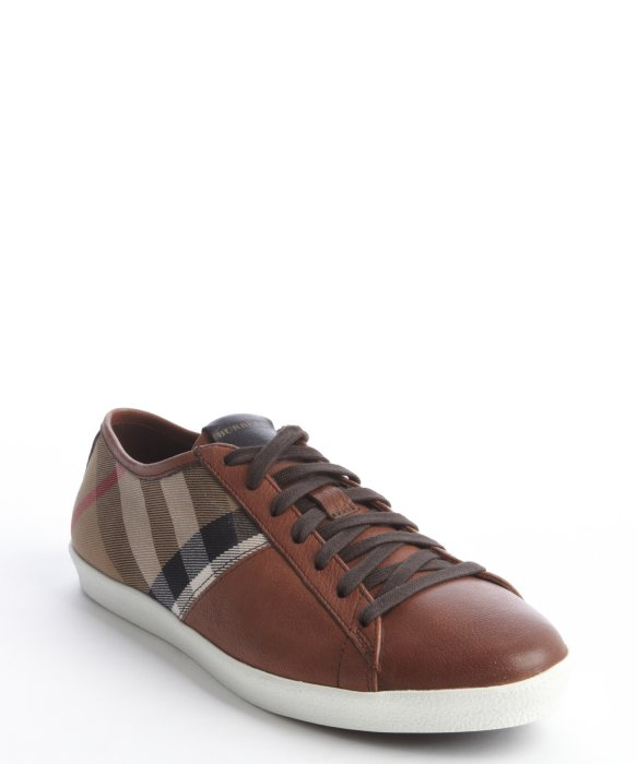 Canvas Check and Leather Sneakers - Brown Burberry Ebay Sale Online Discount Pay With Paypal oMSTgyOwb