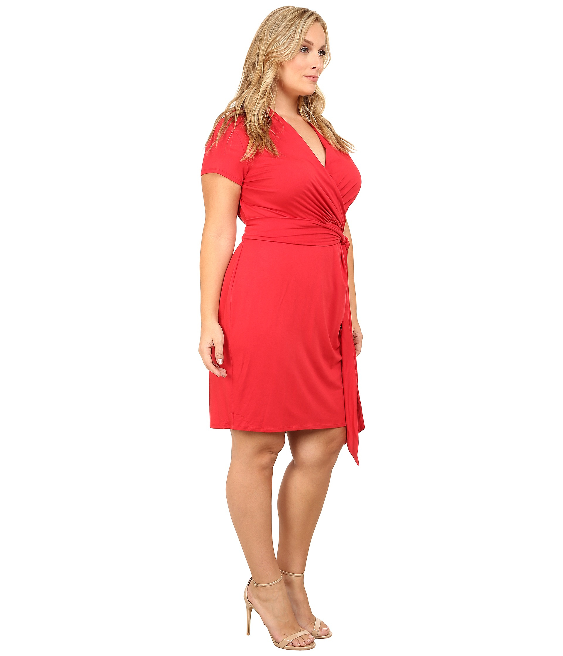 Adrianna papell Plus Size Short Sleeve Wrap Dress in Red | Lyst