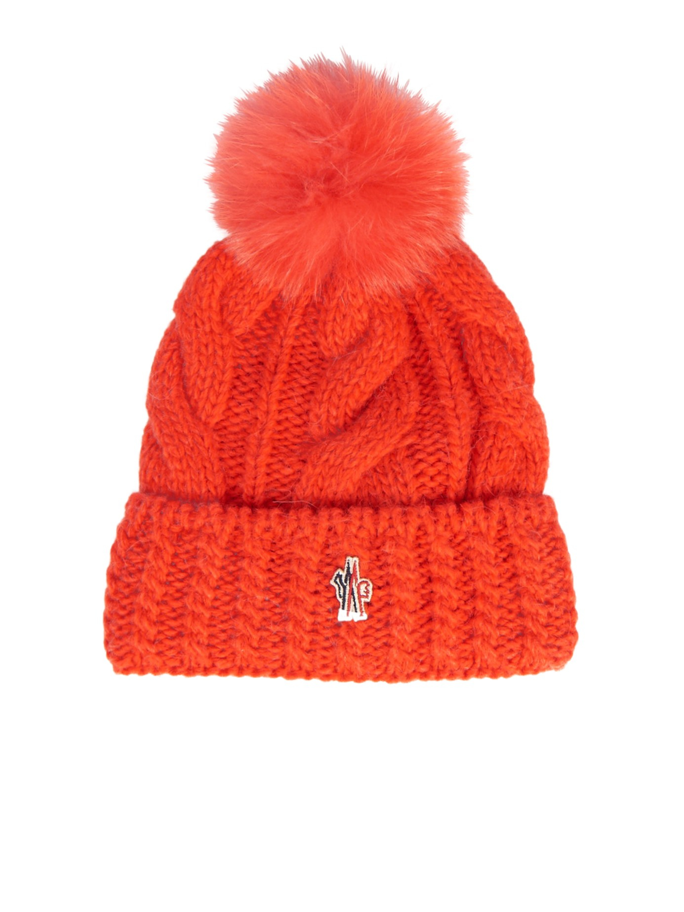 Lyst - Moncler Grenoble Mink-fur Pompom Knitted Beanie Hat in Orange de487a954c83