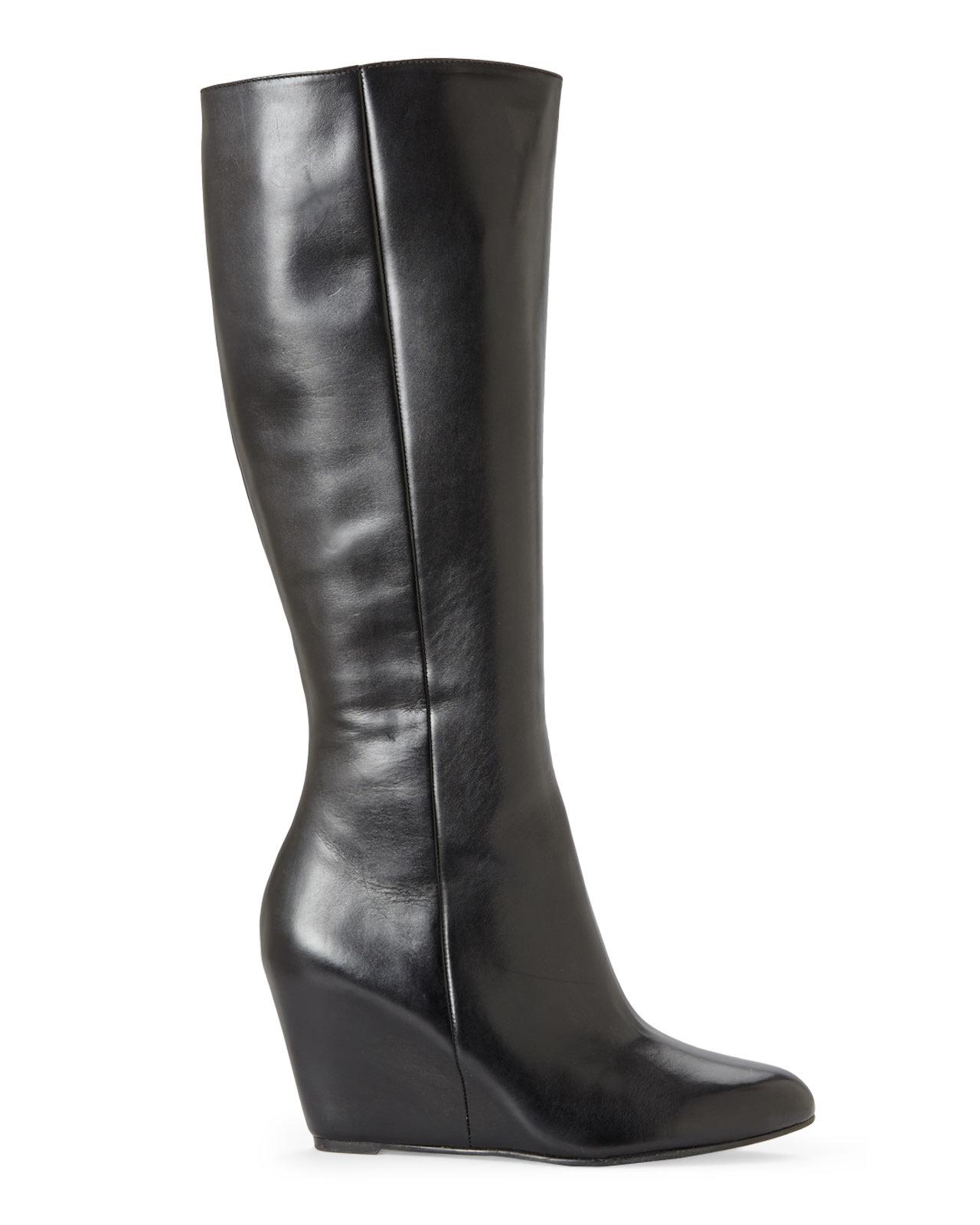 via spiga black adina wedge boots in black lyst