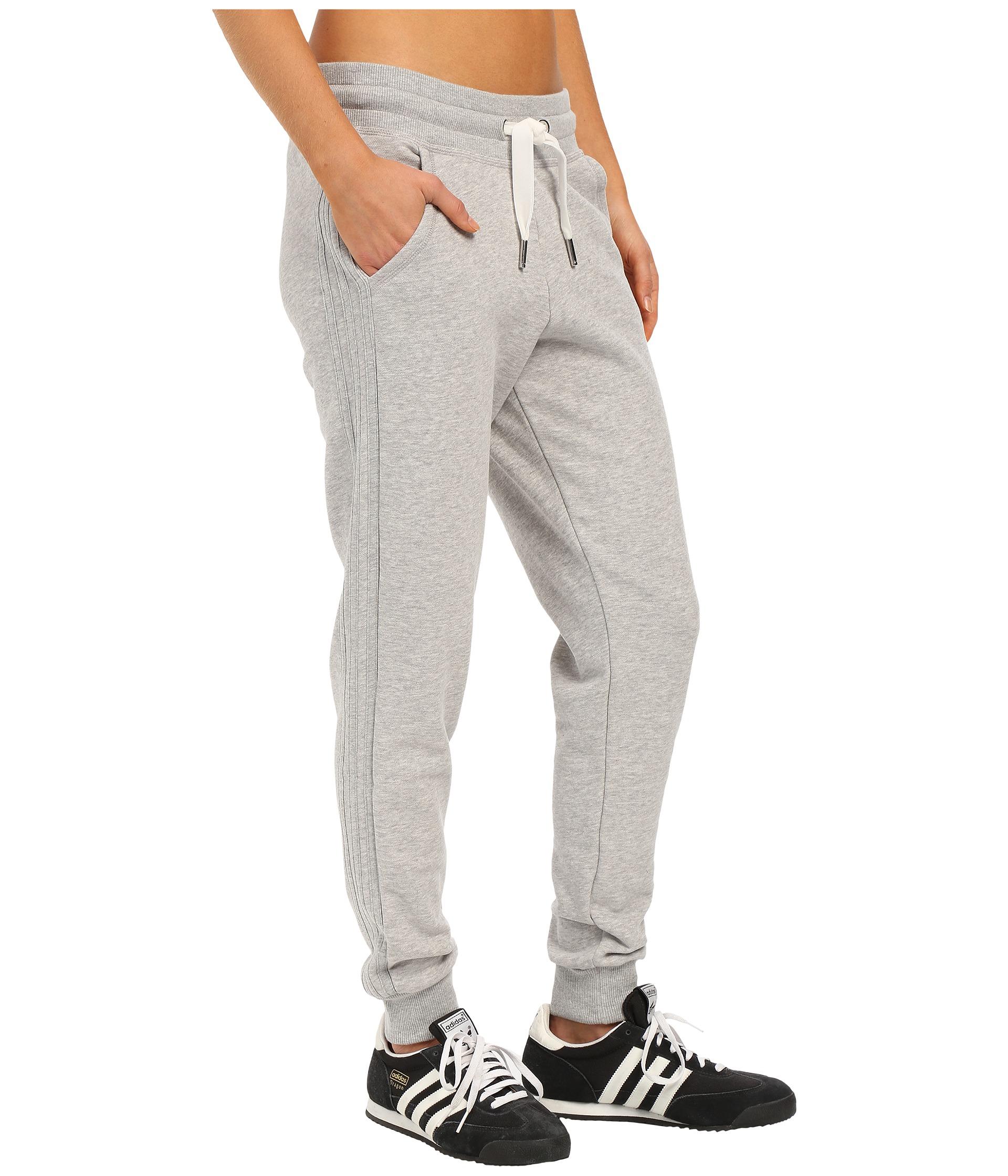 lyst adidas originals slim cuffed track pants in gray