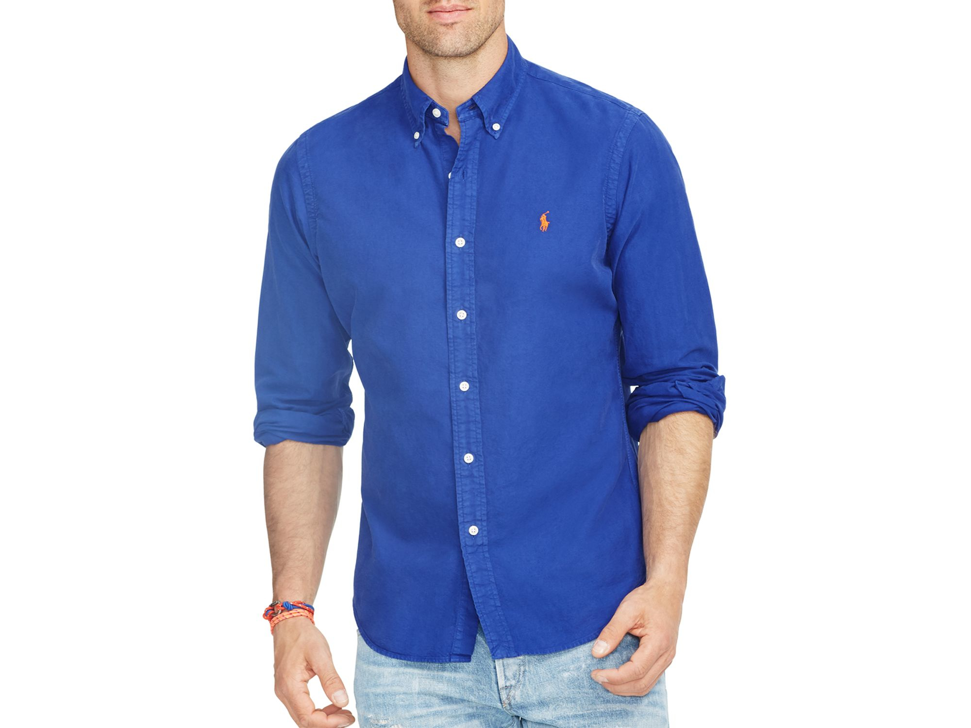 ralph lauren polo oxford shirt in blue for men lyst. Black Bedroom Furniture Sets. Home Design Ideas