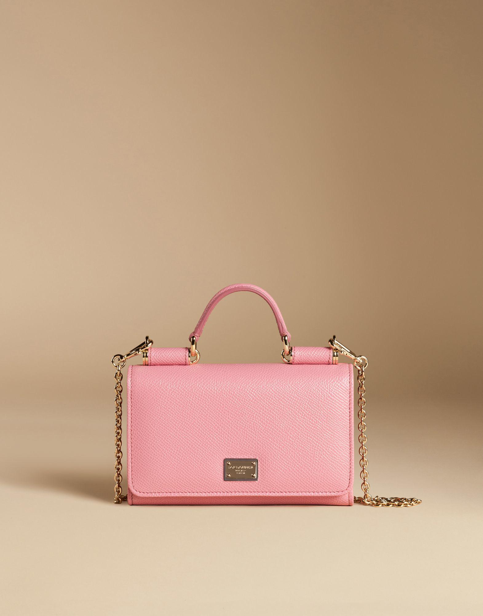 a9917a85b2d1 Lyst - Dolce   Gabbana Mini Von Bag In Dauphine Print Leather in Pink