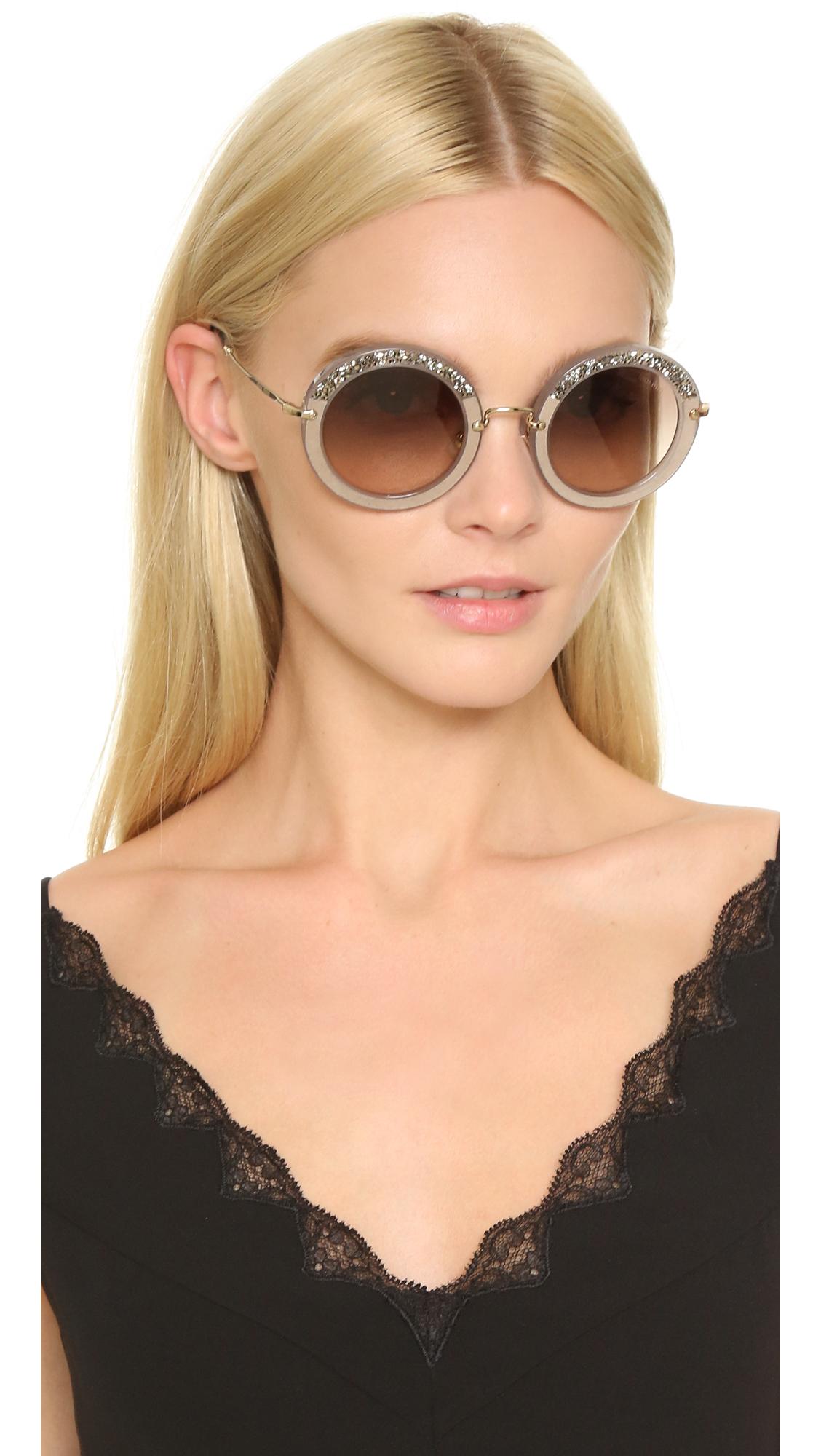 Miu Miu Sunglasses Round  miu miu round crystal sunglasses in gray lyst