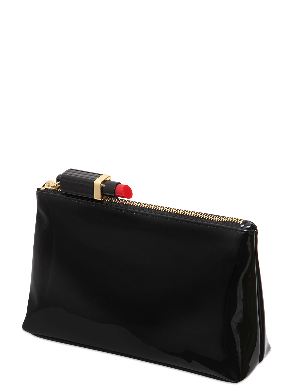 Lulu Guinness Faux Patent Leather Make Up Bag In Black Lyst