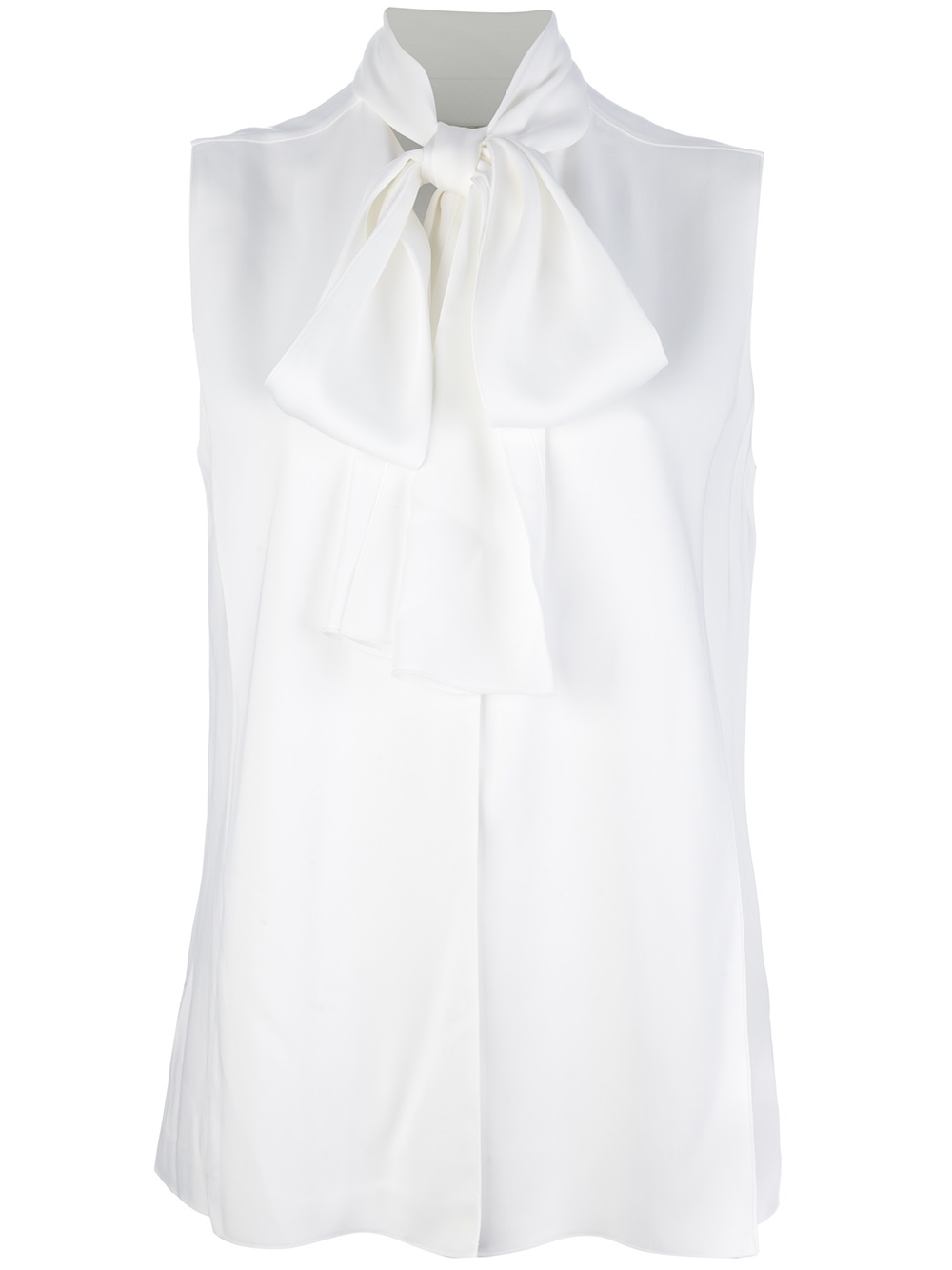 d14fc609c3c754 Lyst - Victoria Beckham Pussy Bow Sleeveless Blouse in White