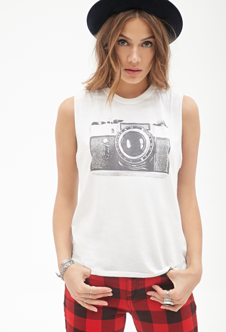 63ea358d Forever 21 Camera Graphic Muscle Tee in Natural - Lyst