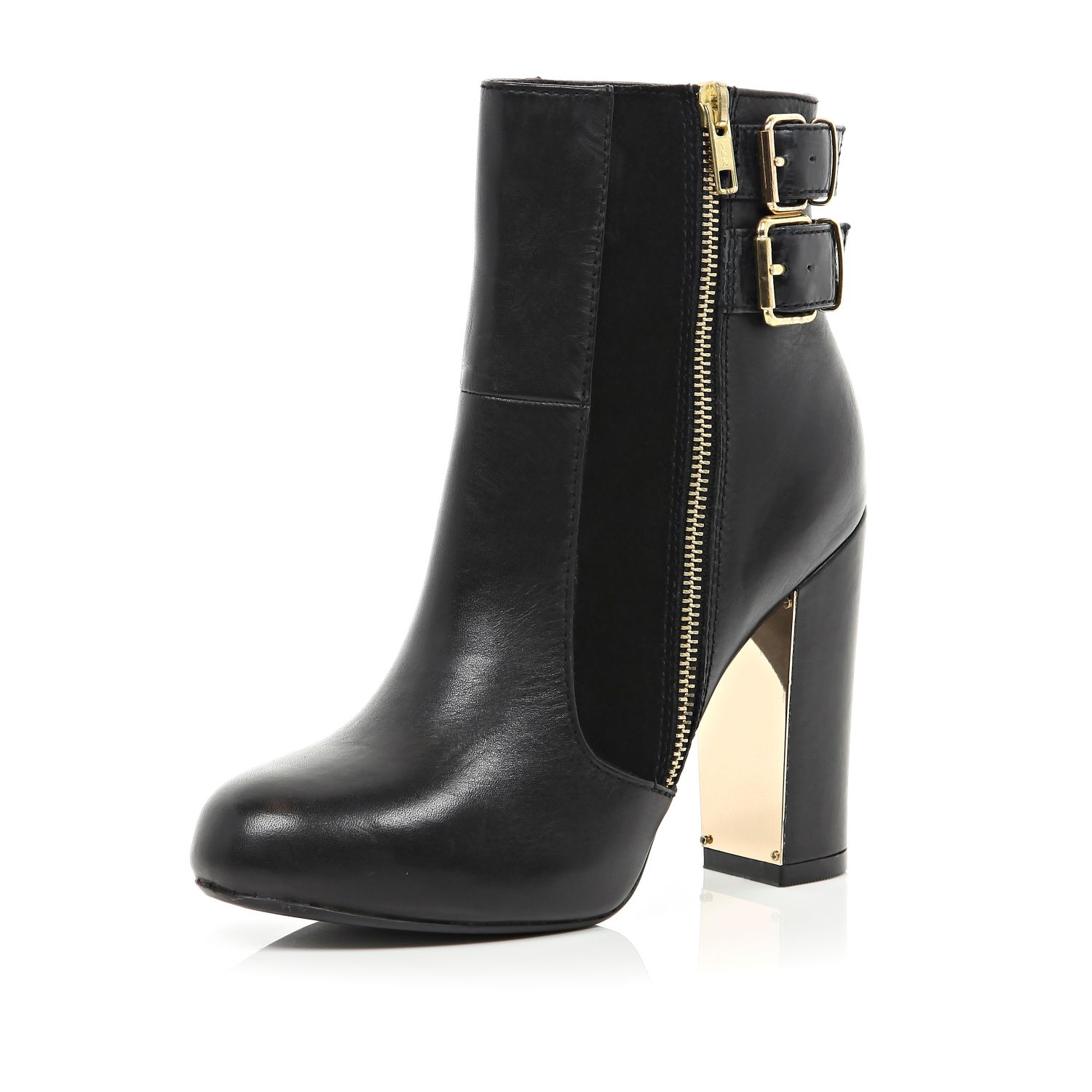 0170449e0d4d River Island Black Metal Trim Block Heel Ankle Boots in Black - Lyst