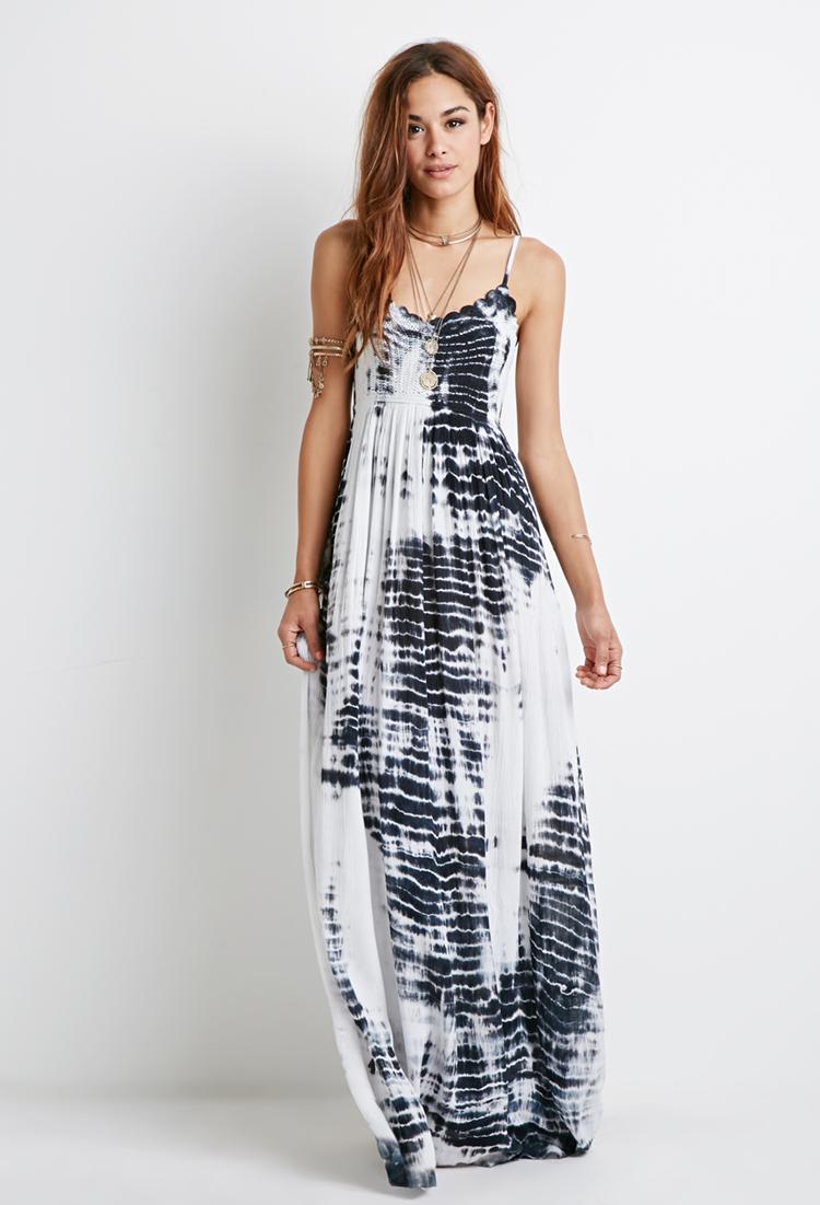 Lyst Forever 21 Tie Dye Crochet Maxi Dress In White