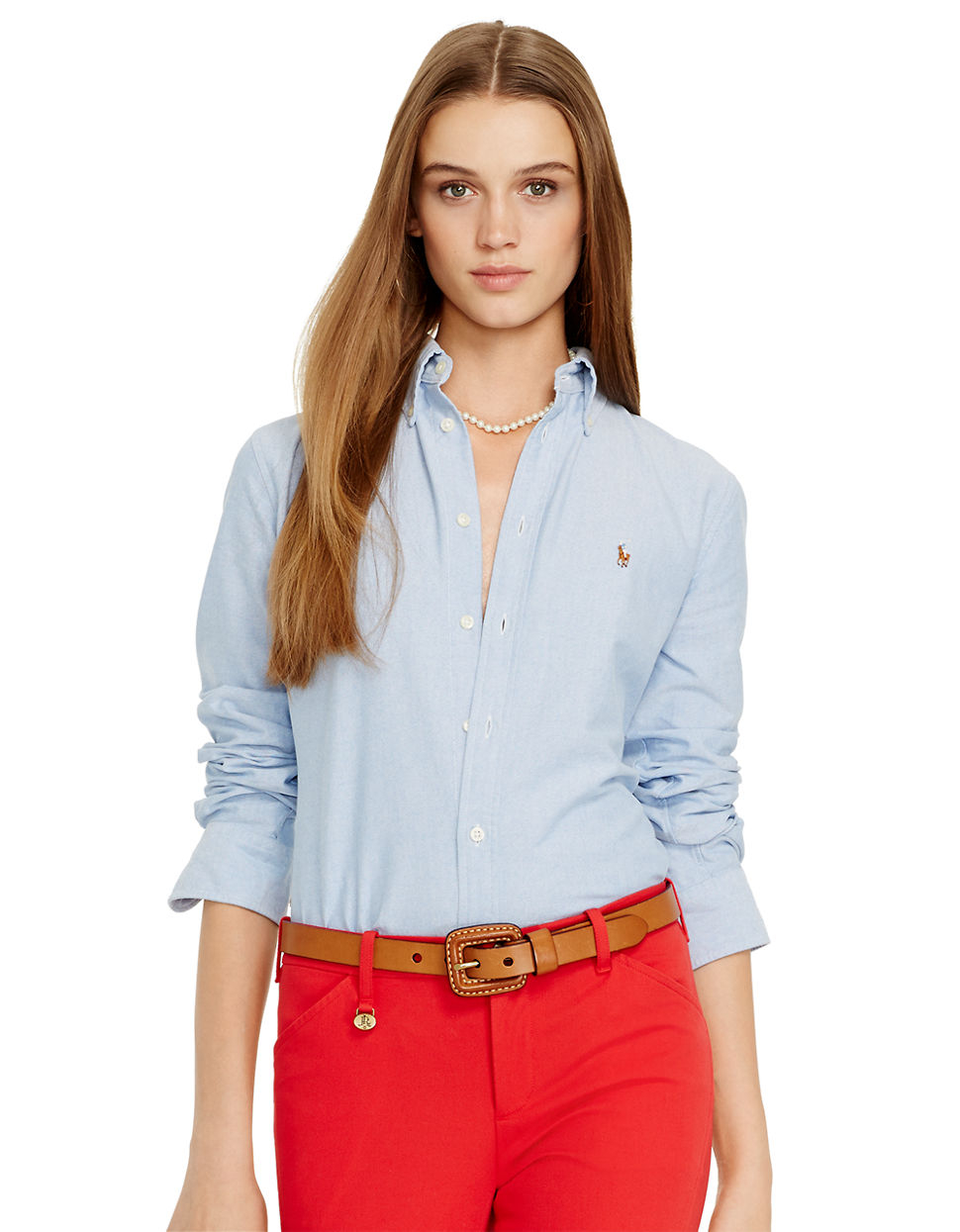 Polo Ralph Lauren Custom Fit Washed Oxford Shirt In Blue