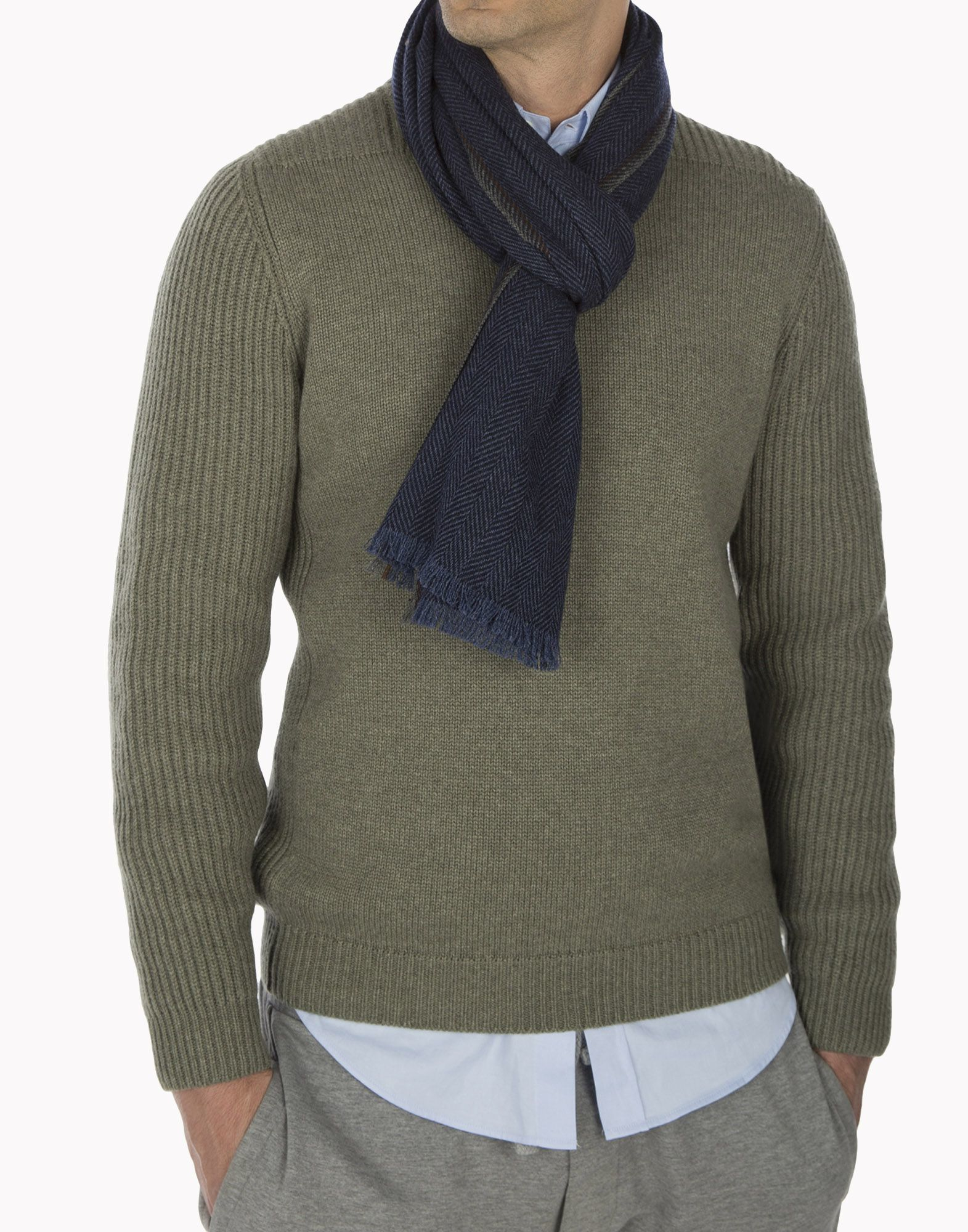 brunello cucinelli scarf in blue for lyst