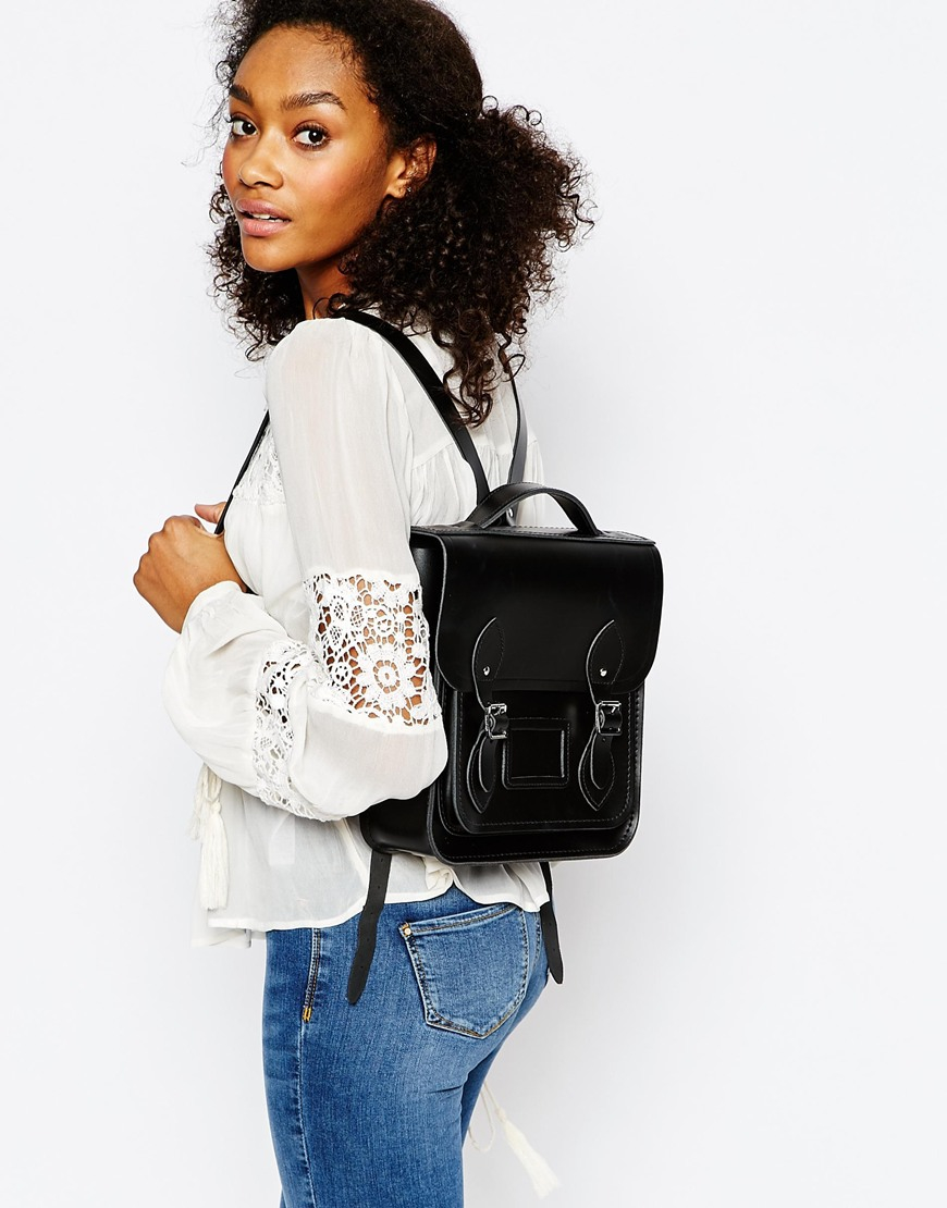 4ea8c4688 Cambridge Satchel Company The Leather Small Backpack in Black - Lyst