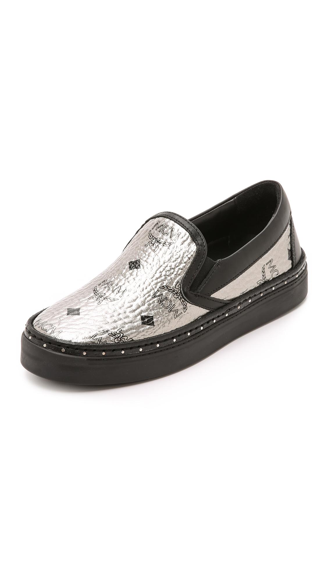 Lyst Mcm Slip On Sneakers Visetos Silver In Black