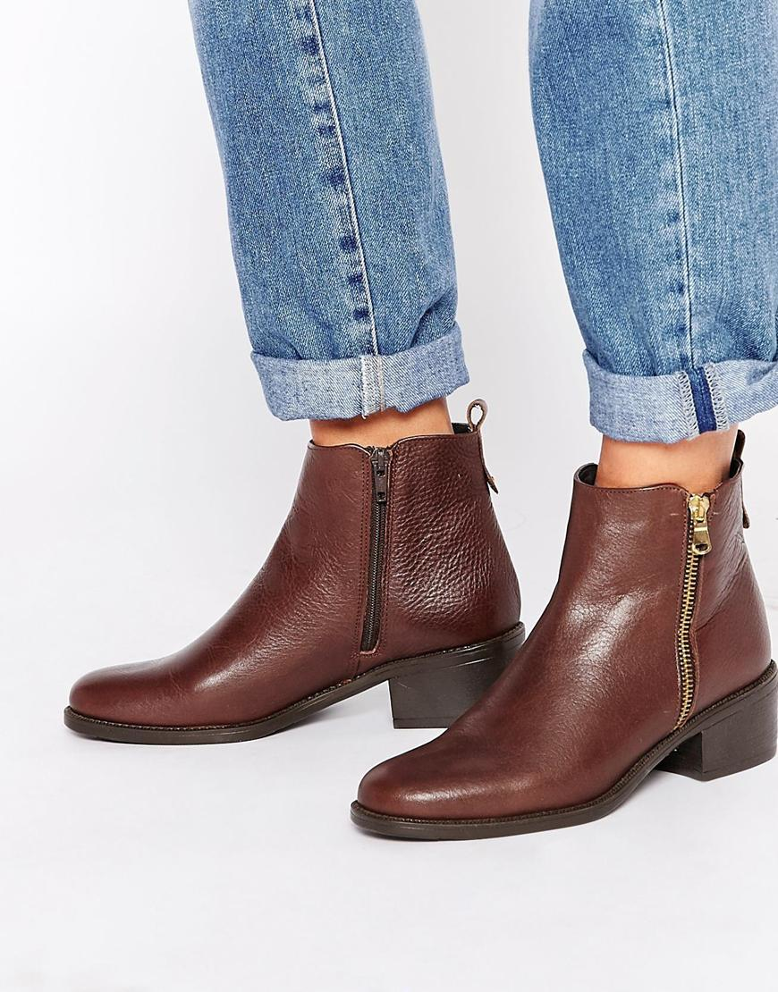 15a5379c8dd9 Oasis Zip Detail Ankle Boots - Brown in Brown - Lyst