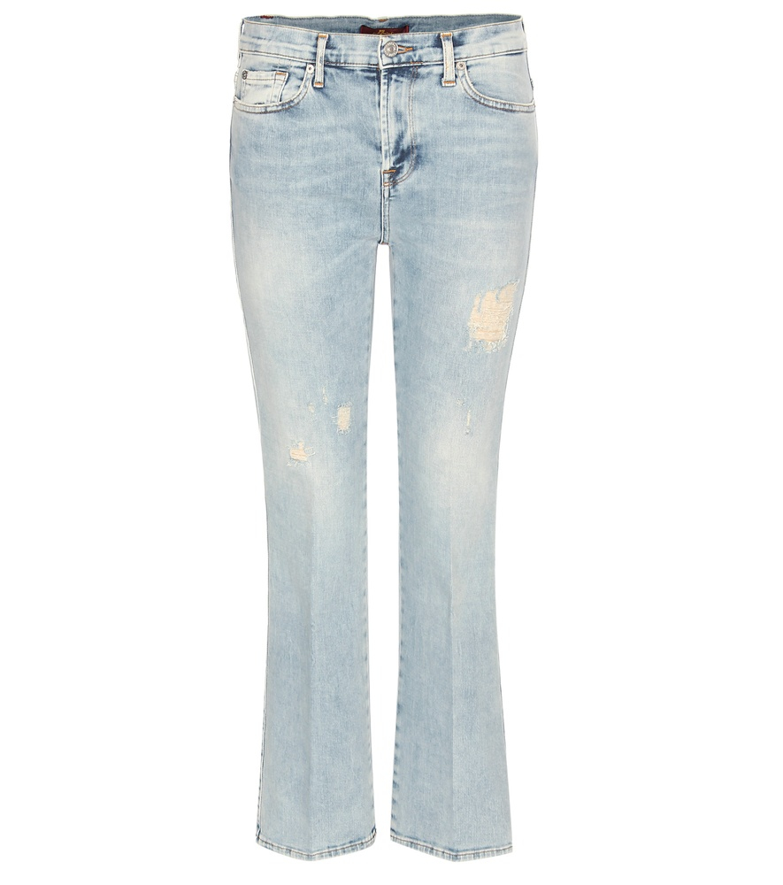 for all mankind cropped bootcut jeans in blue lyst. Black Bedroom Furniture Sets. Home Design Ideas