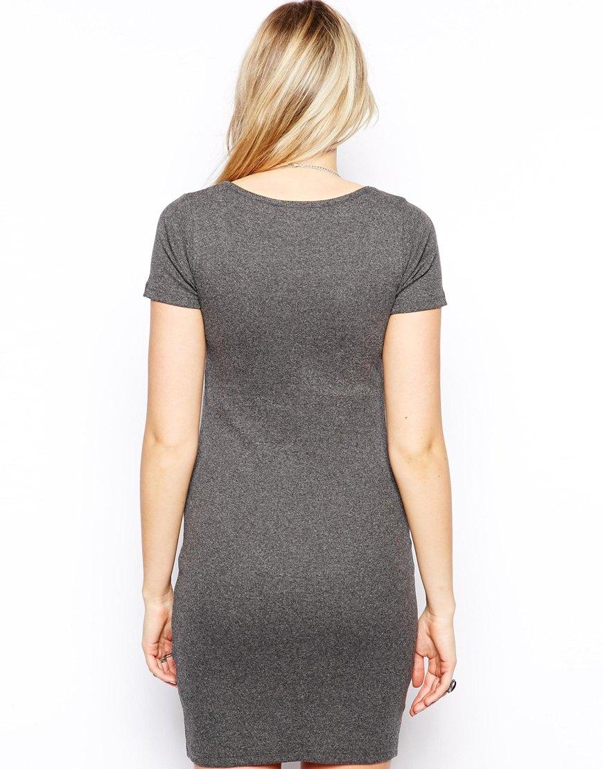 Lyst Asos Rib Bodycon Dress With Short Sleeve In Gray