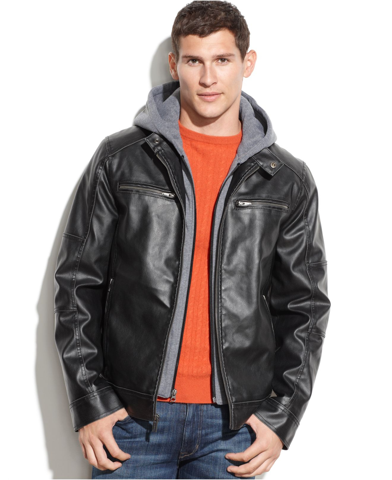 ab22acd6ba5d9 Guess Hooded Faux Leather Moto Jacket in Black for Men - Lyst