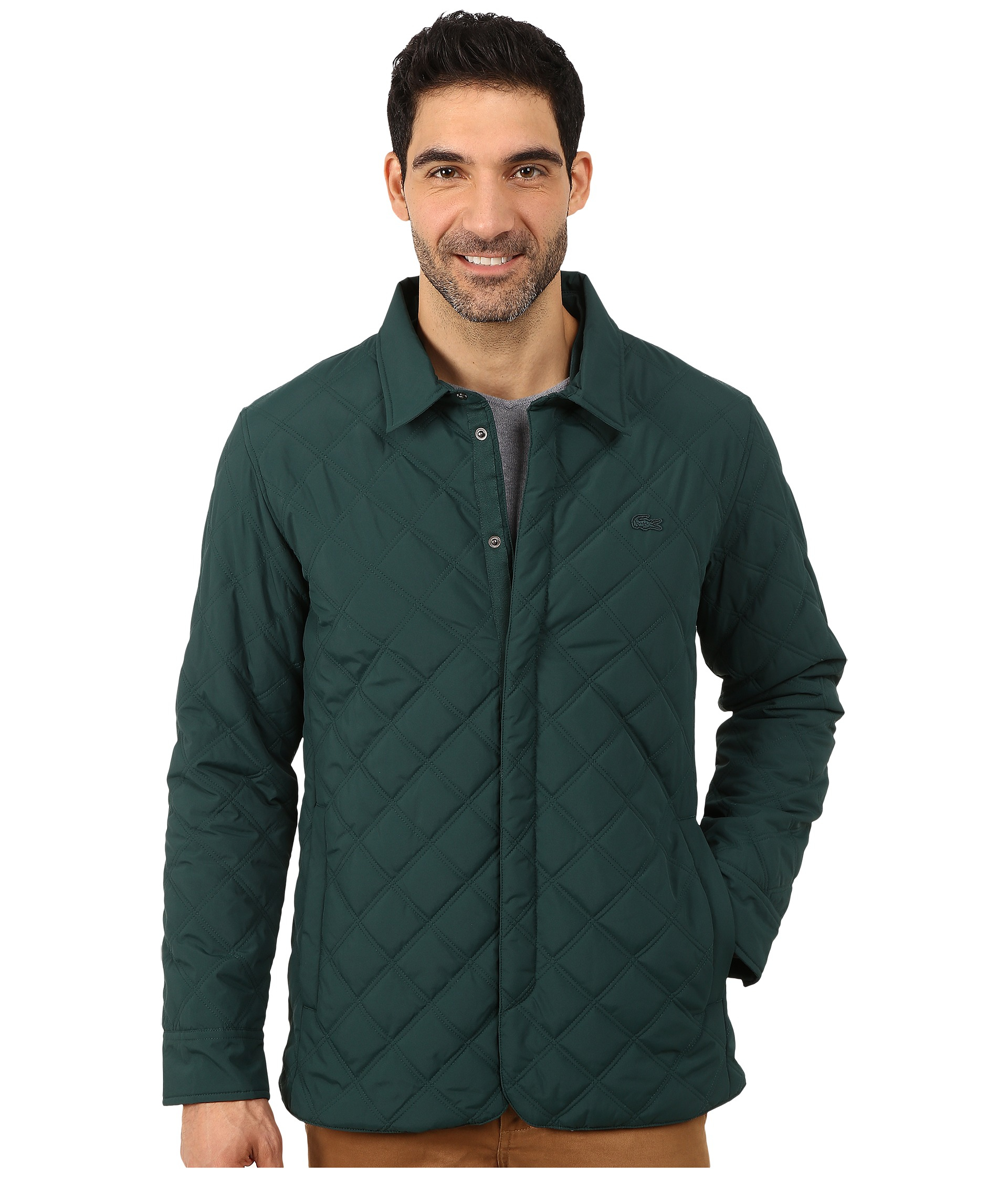 Lacoste Fall Weight Quilted Coat in Green for Men | Lyst : quilted fall jacket - Adamdwight.com
