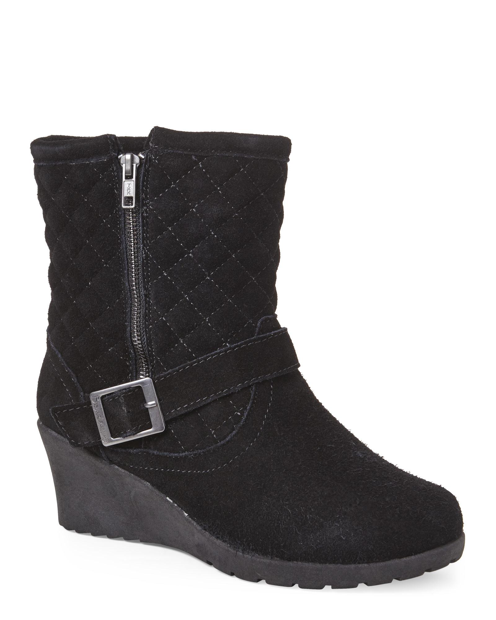 5ec8f7728b0 Lyst - BEARPAW Black Natasha Quilted Wedge Boots in Black