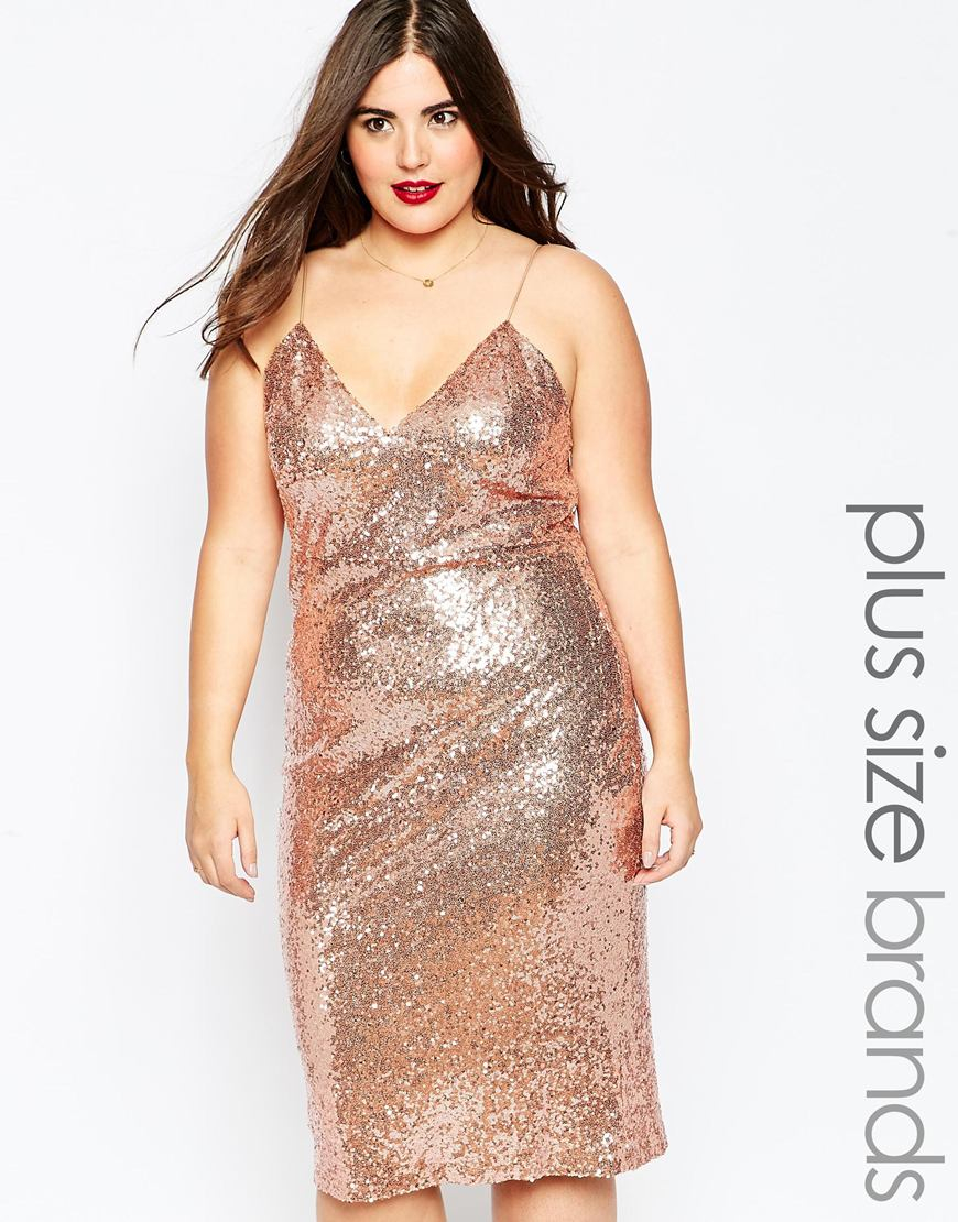 Club L Plus Size Cami Dress In Sequins in Pink - Lyst